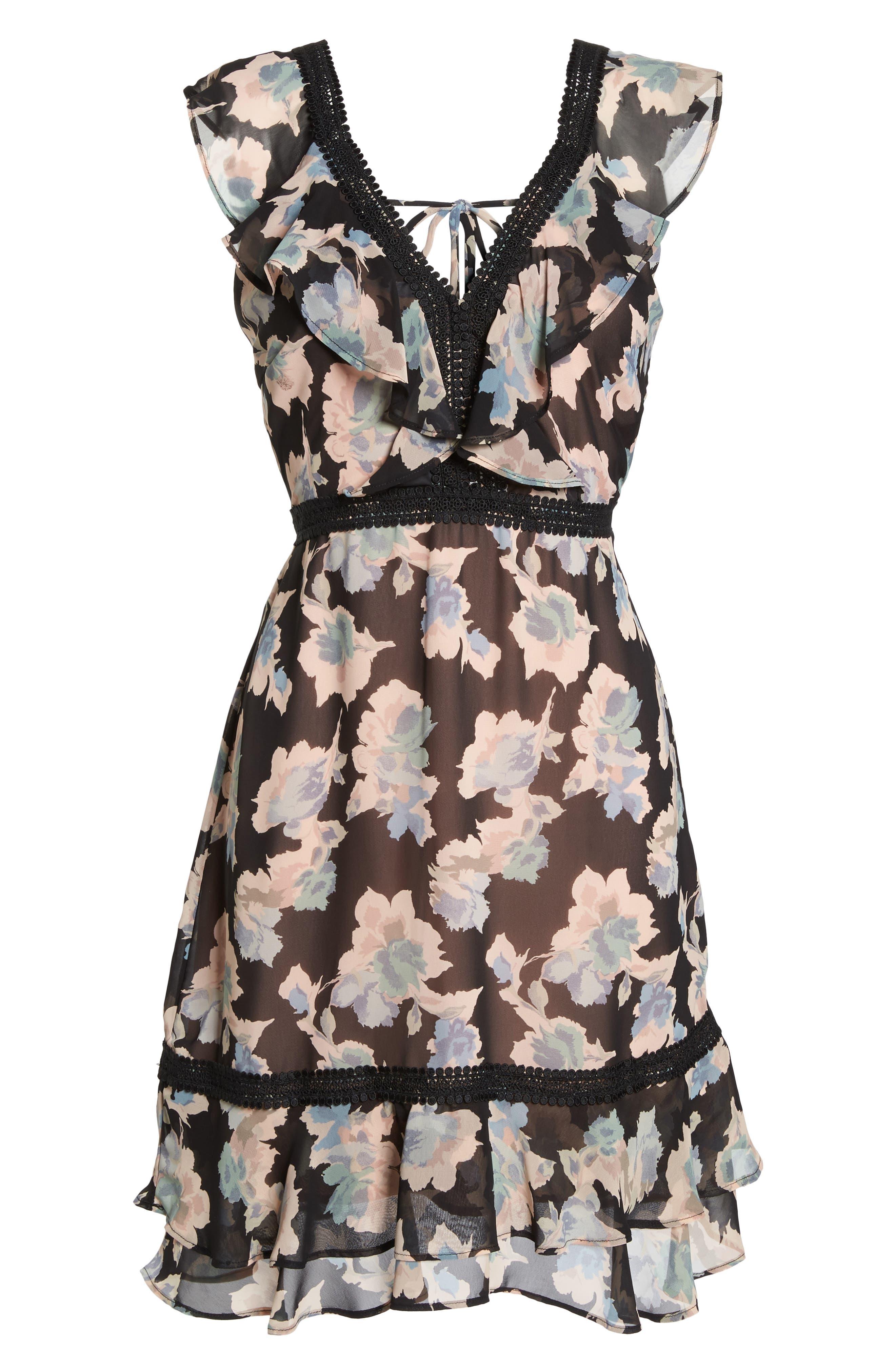 Alternate Image 6  - Mary & Mabel Floral Ruffle Hem Fit & Flare Dress