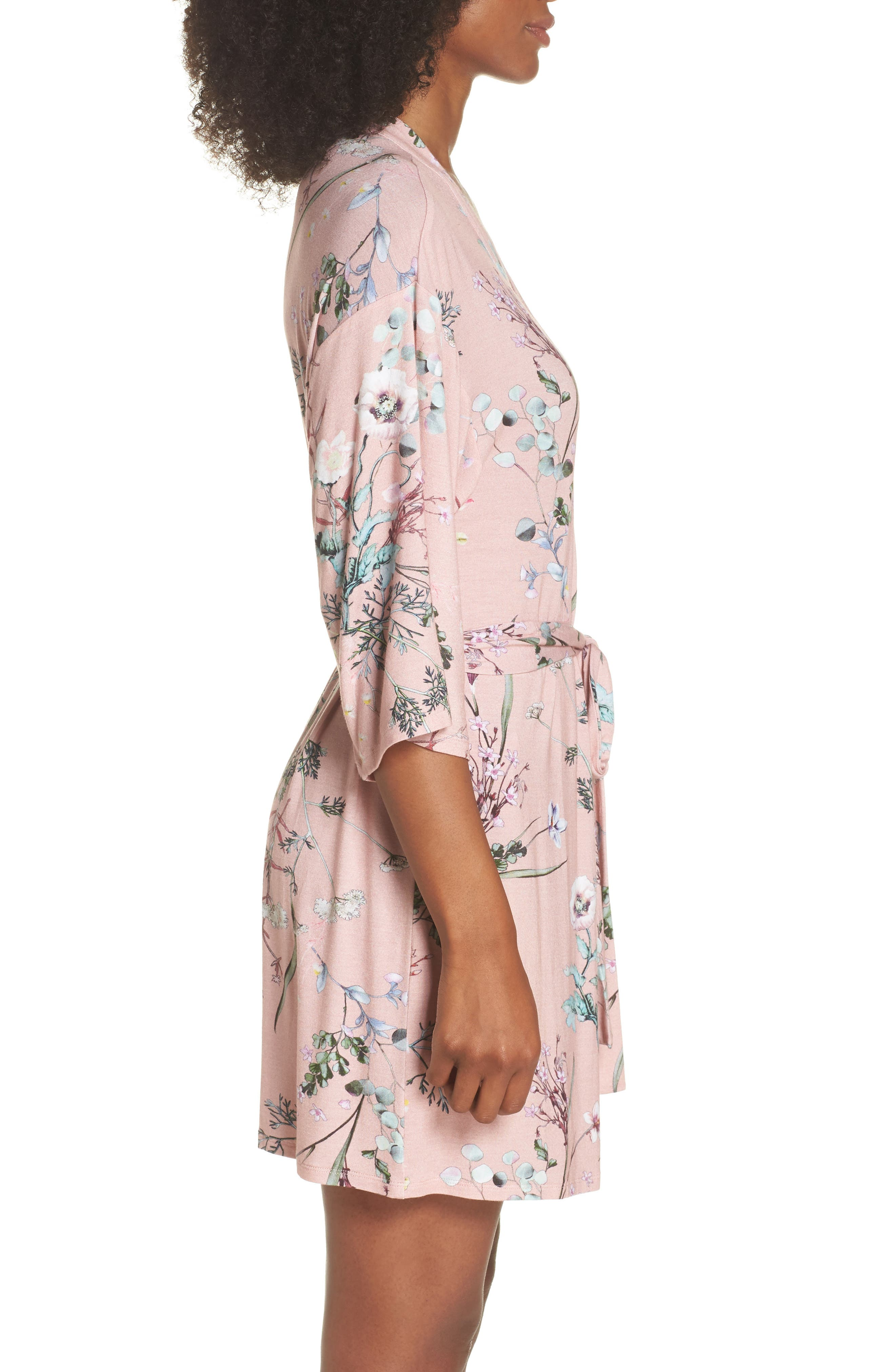 Floral Print Robe,                             Alternate thumbnail 3, color,                             Terra Cota