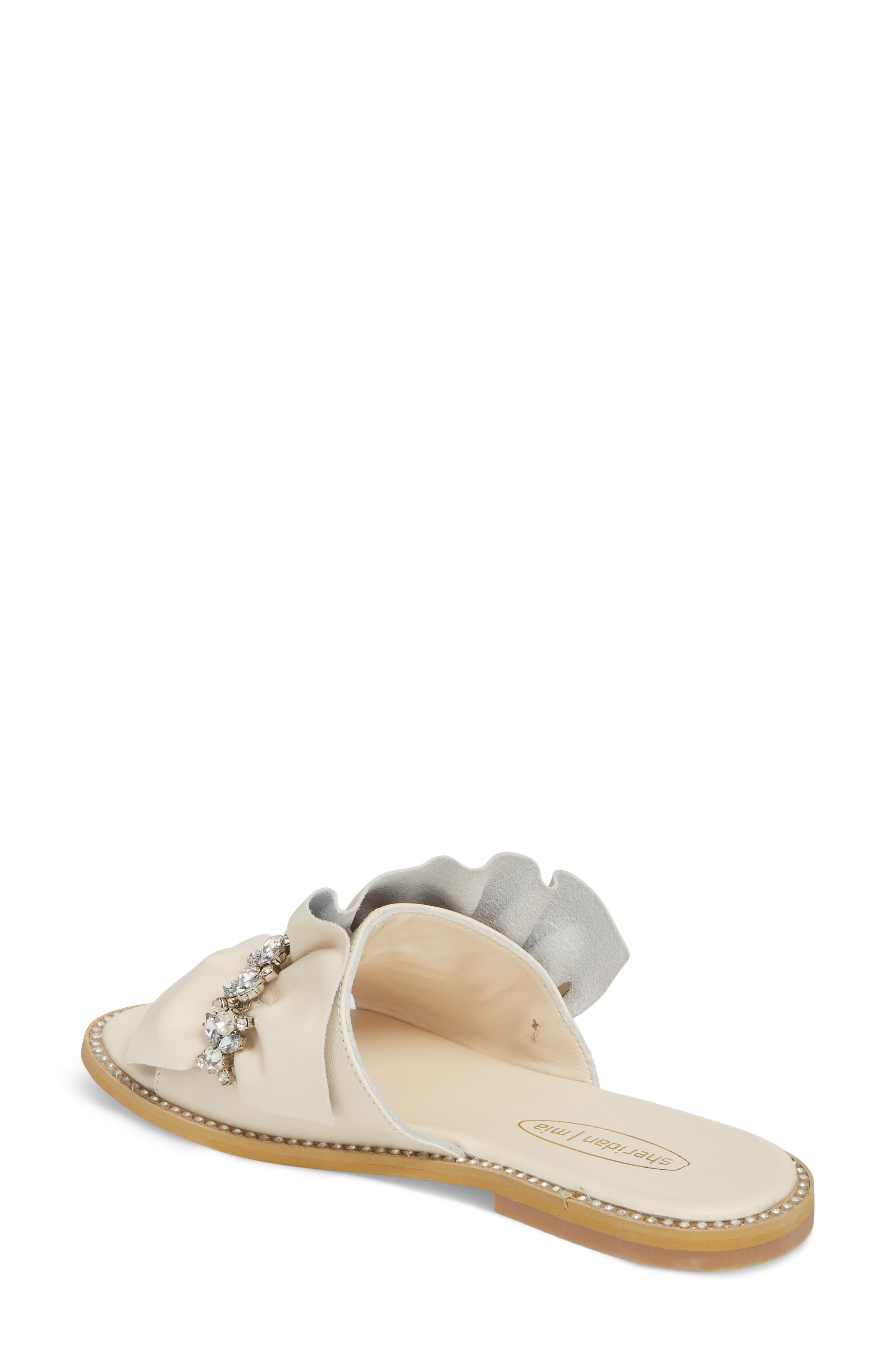 Tiana Crystal Slide Sandal,                             Alternate thumbnail 2, color,                             Cream Leather