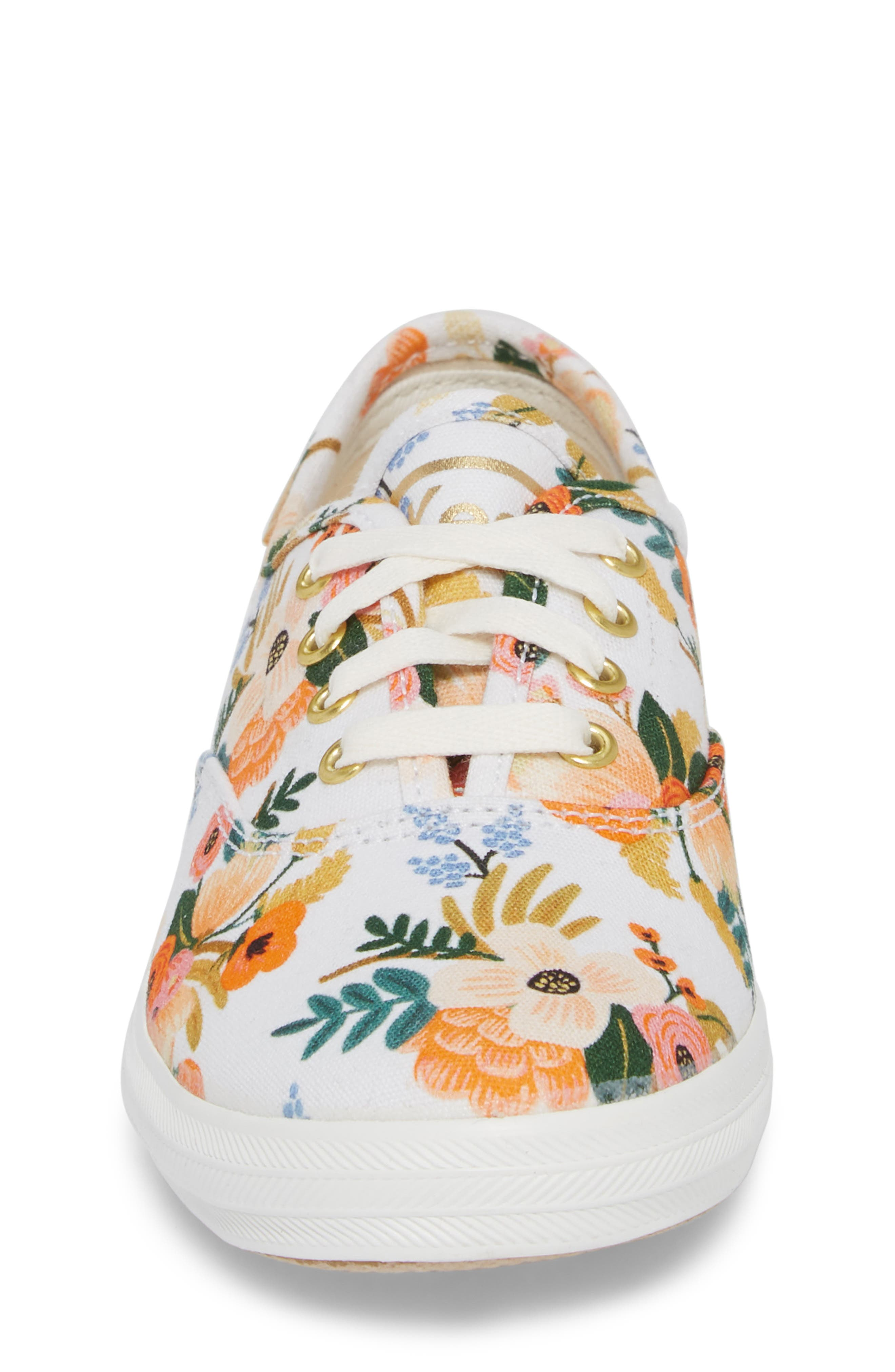 x Rifle Paper Co. Floral Print Champion Sneaker,                             Alternate thumbnail 4, color,                             Lively White