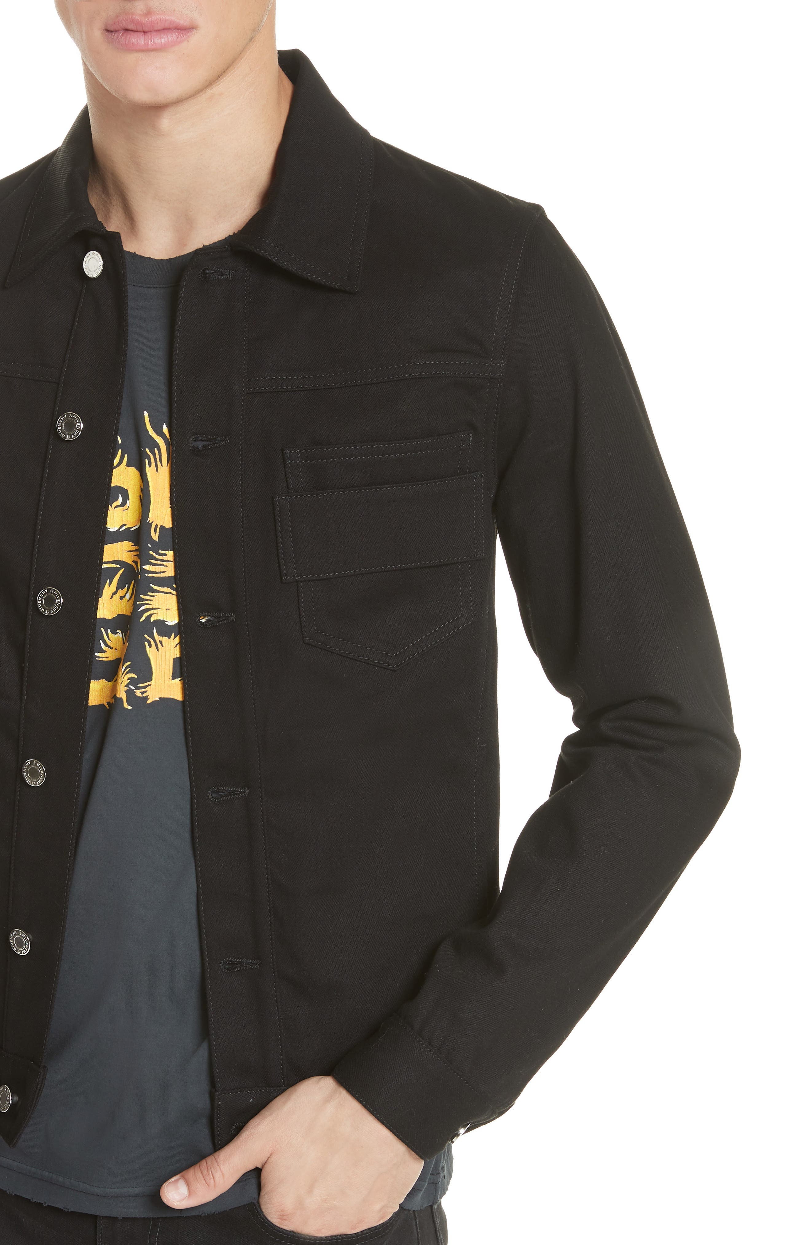 Denim Jacket with Logo Embroidery,                             Alternate thumbnail 4, color,                             Black