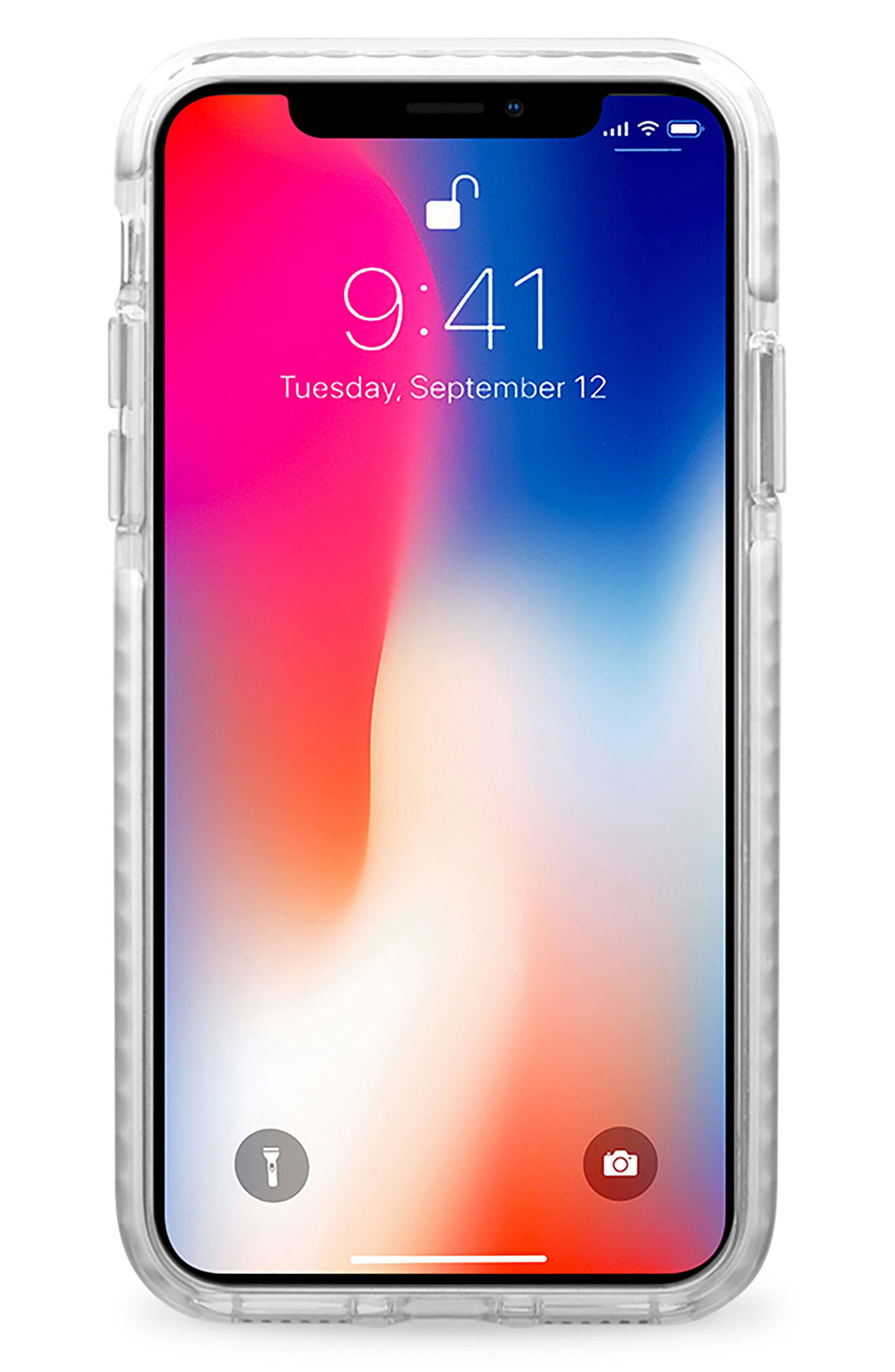Black Floral Transparent iPhone X Case,                             Alternate thumbnail 3, color,                             Grey