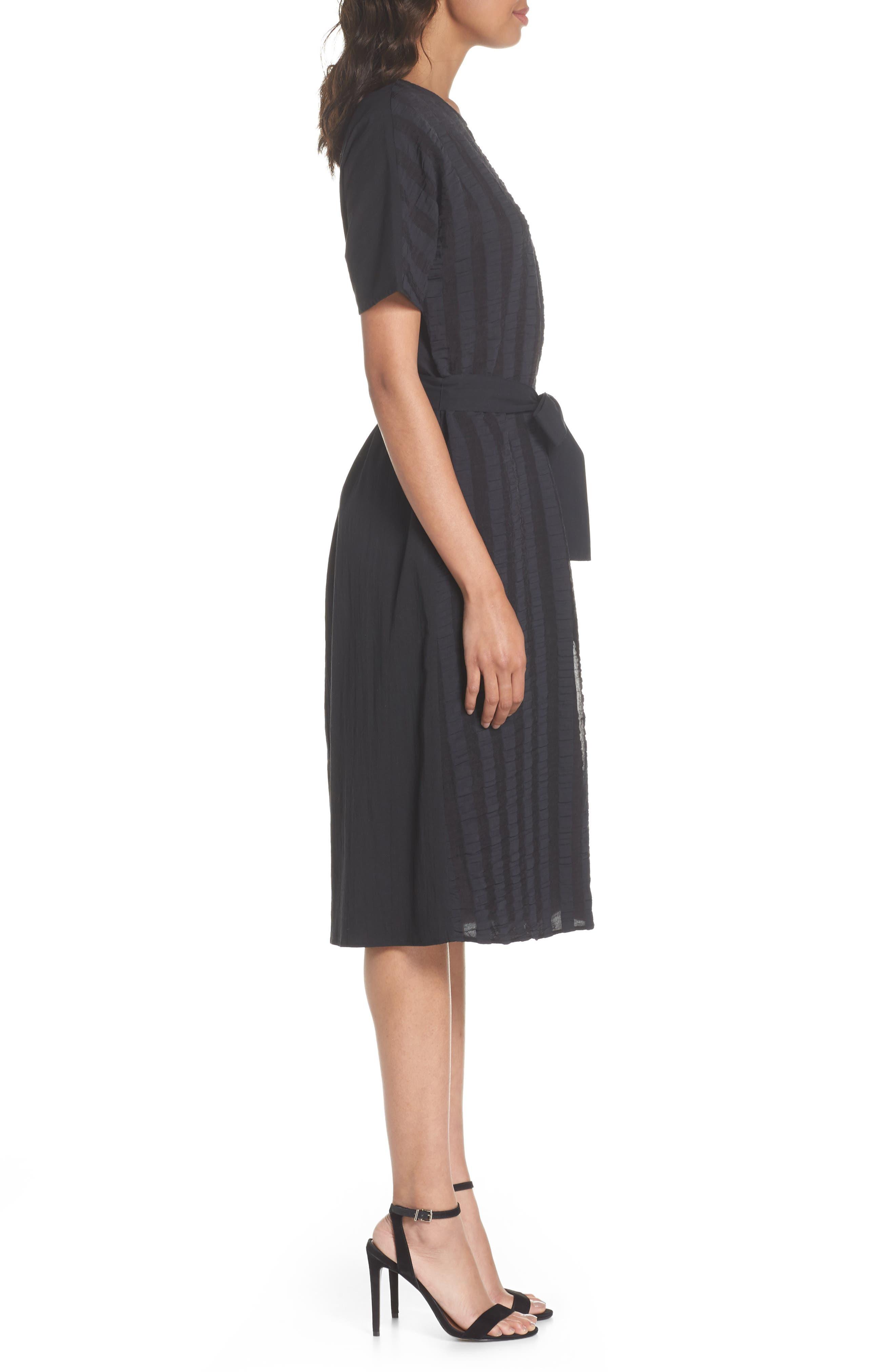 Throwing Shade Midi Dress,                             Alternate thumbnail 3, color,                             Black