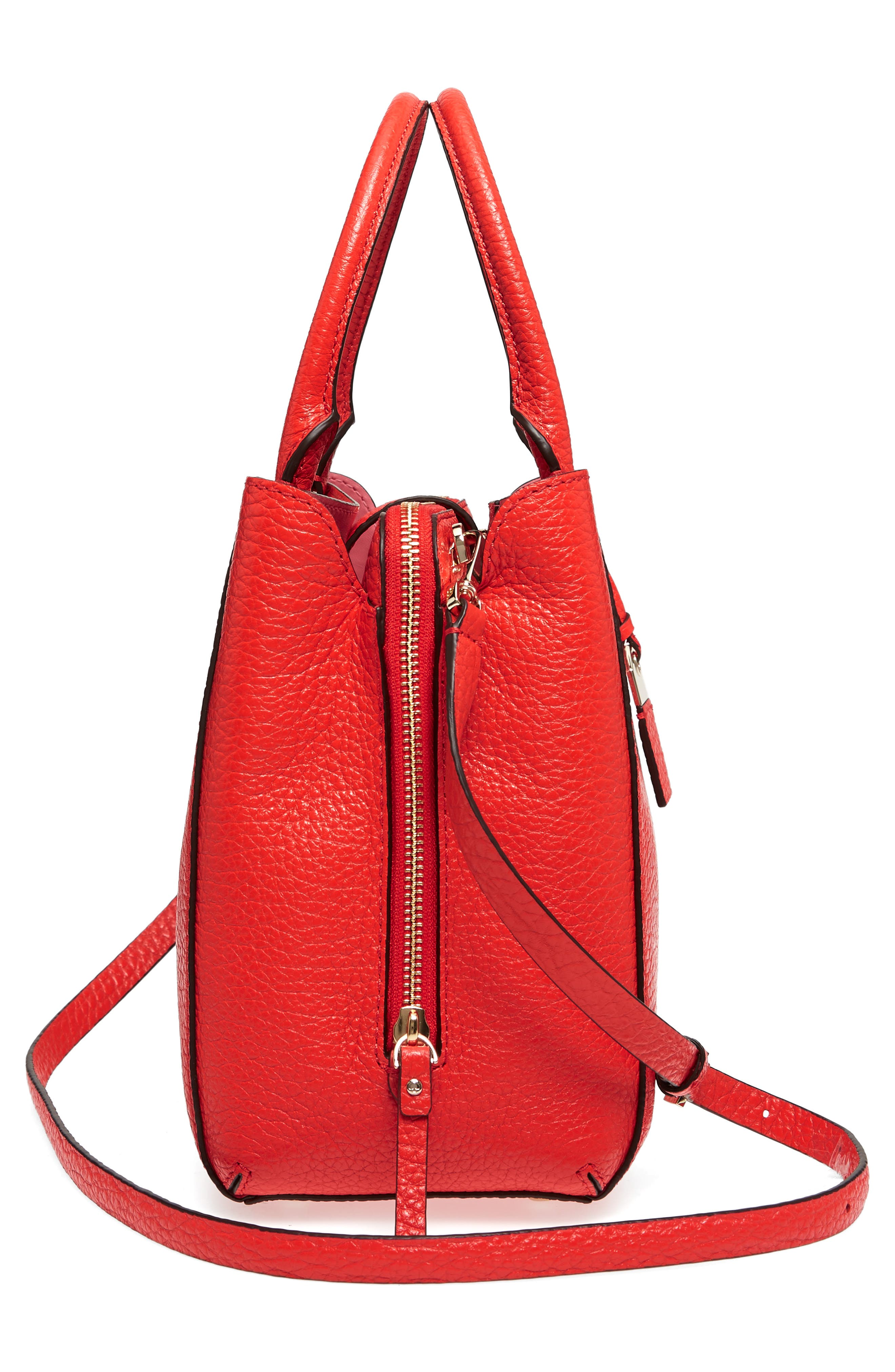 carter street - aliana leather satchel,                             Alternate thumbnail 5, color,                             Picnic Red