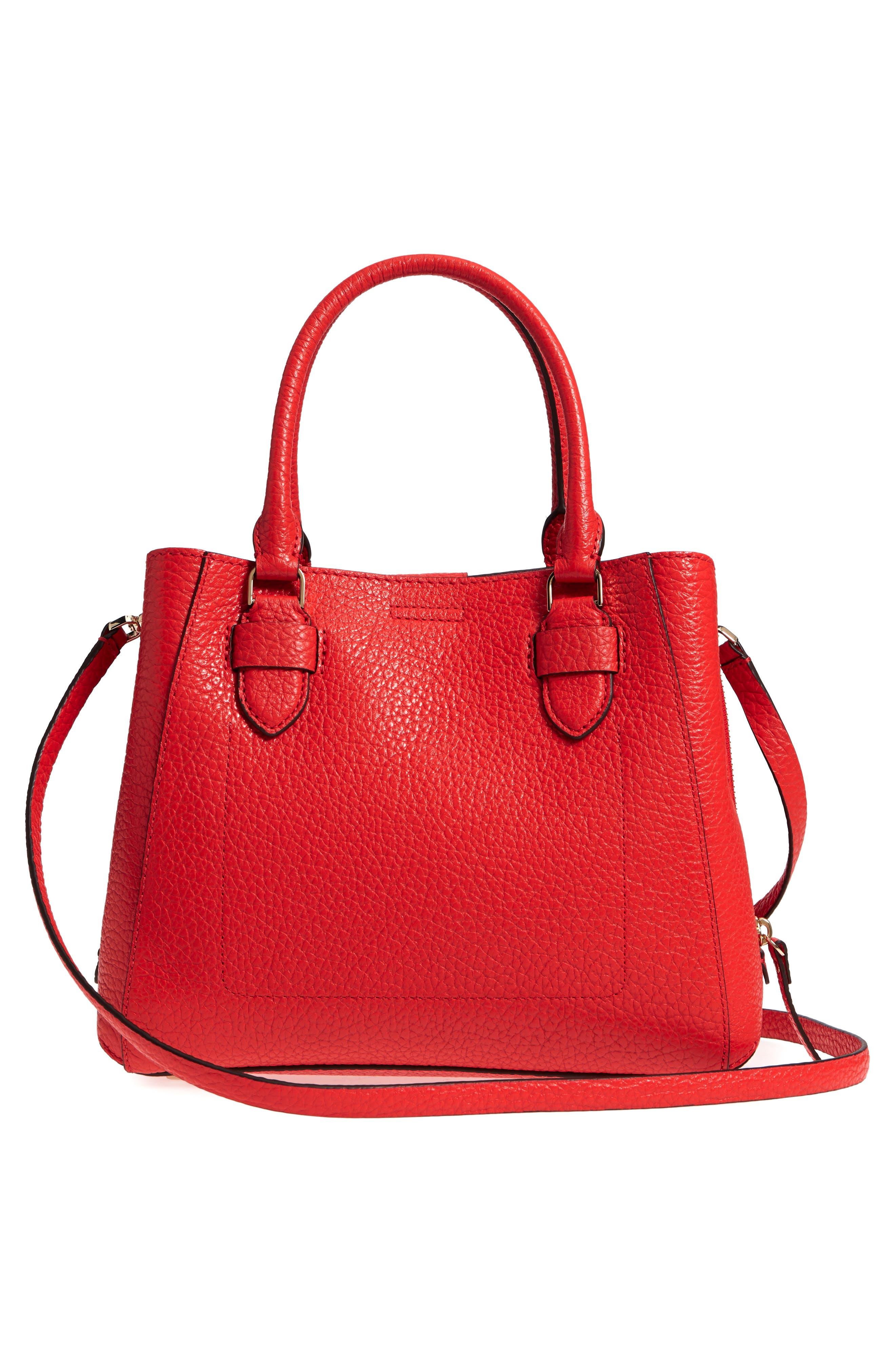 carter street - aliana leather satchel,                             Alternate thumbnail 3, color,                             Picnic Red