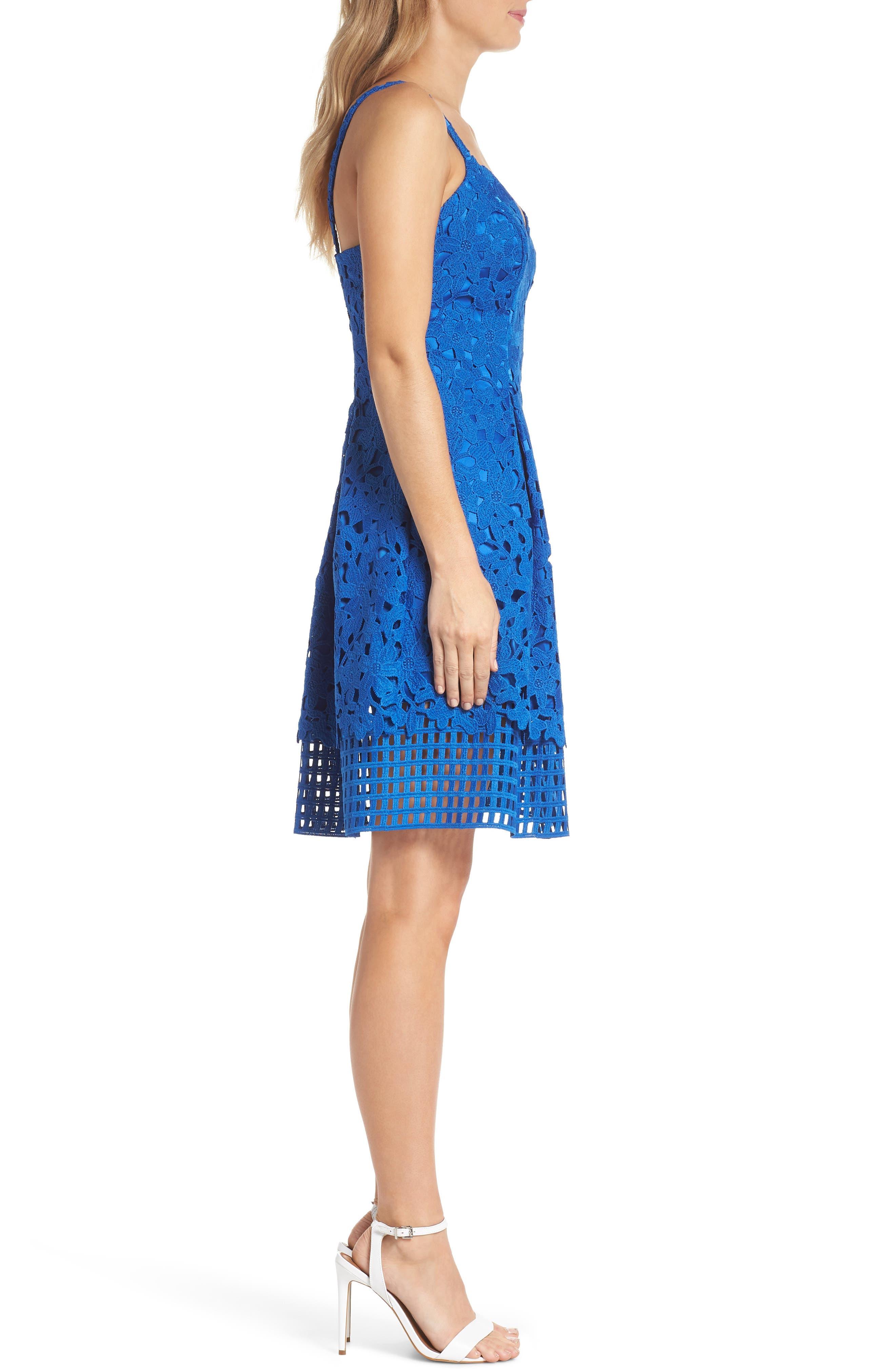 Lace Fit & Flare Dress,                             Alternate thumbnail 3, color,                             Cobalt