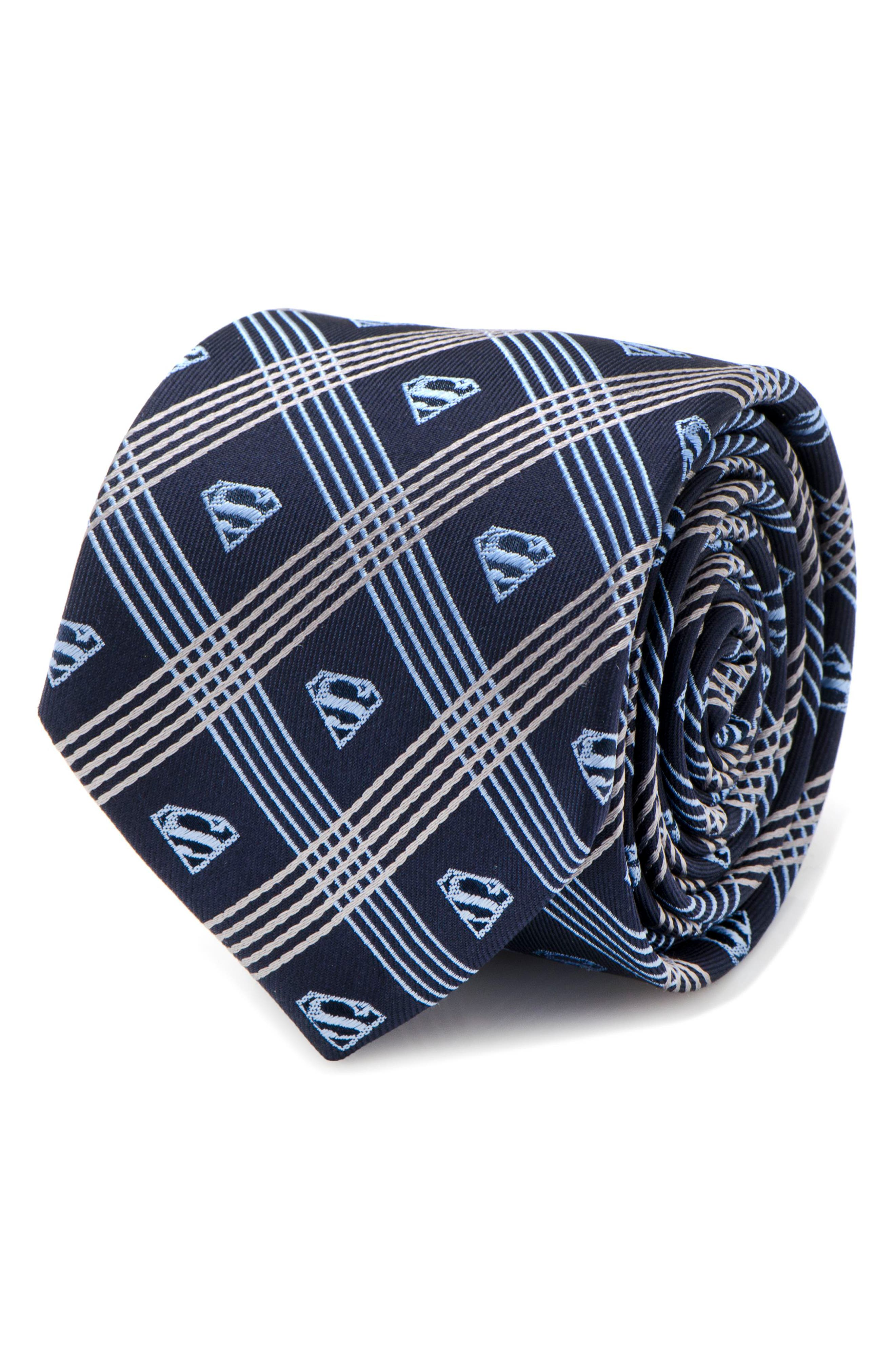 Superman Shield Silk Tie,                             Alternate thumbnail 4, color,                             Grey/ Navy
