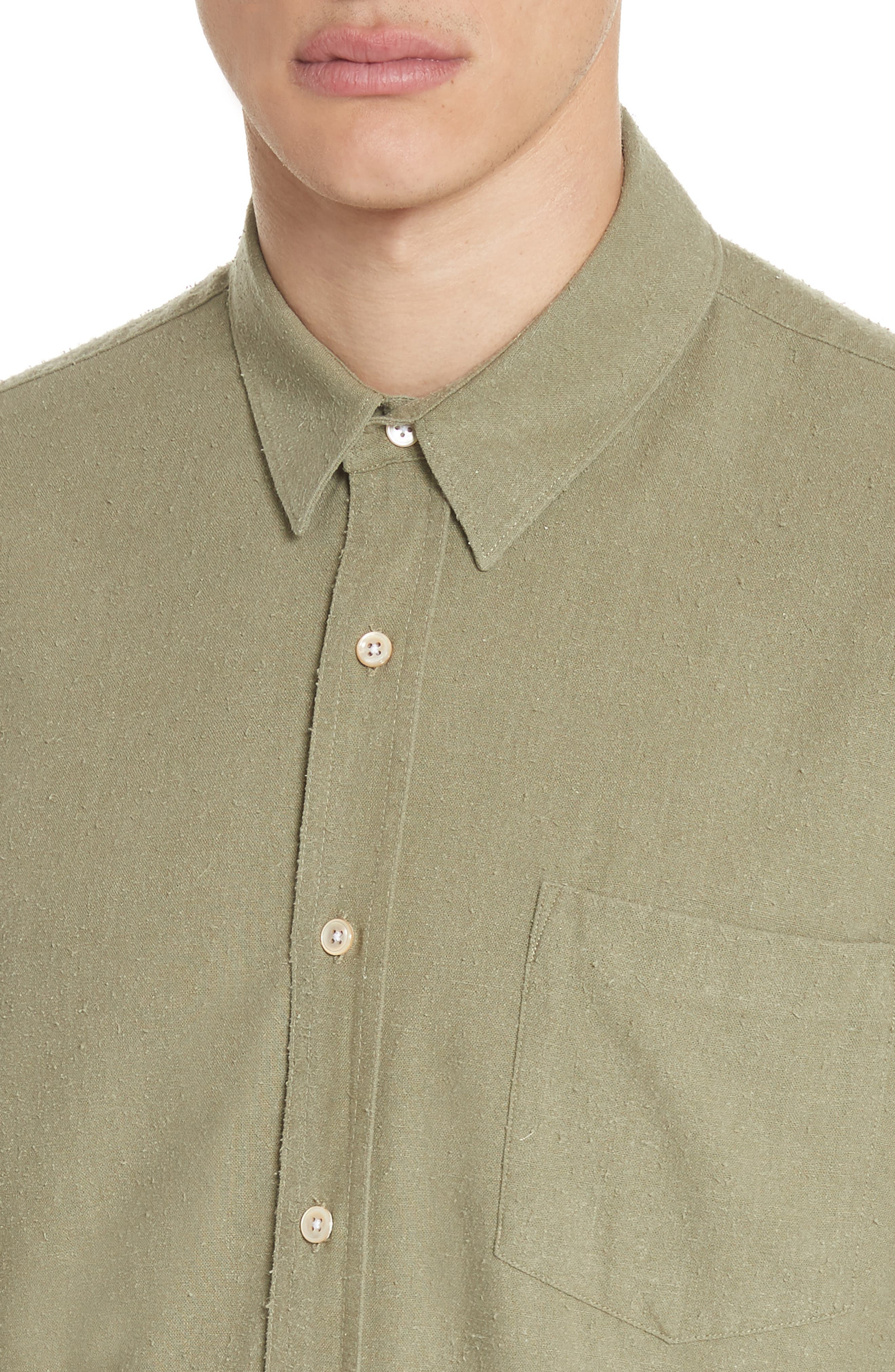Classic Silk Woven Shirt,                             Alternate thumbnail 2, color,                             Olive
