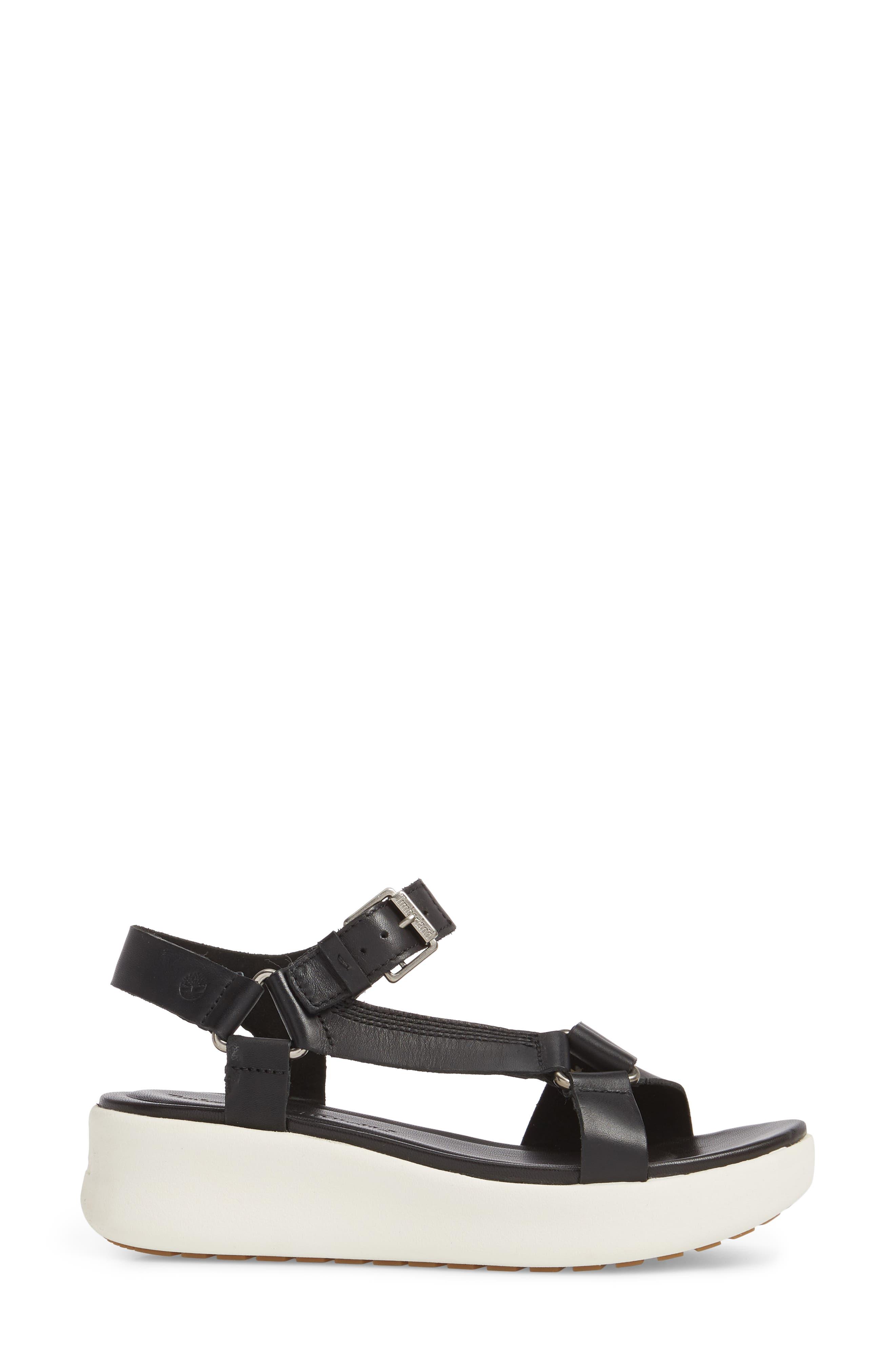 Los Angeles Wind Sport Sandal,                             Alternate thumbnail 3, color,                             Black Leather