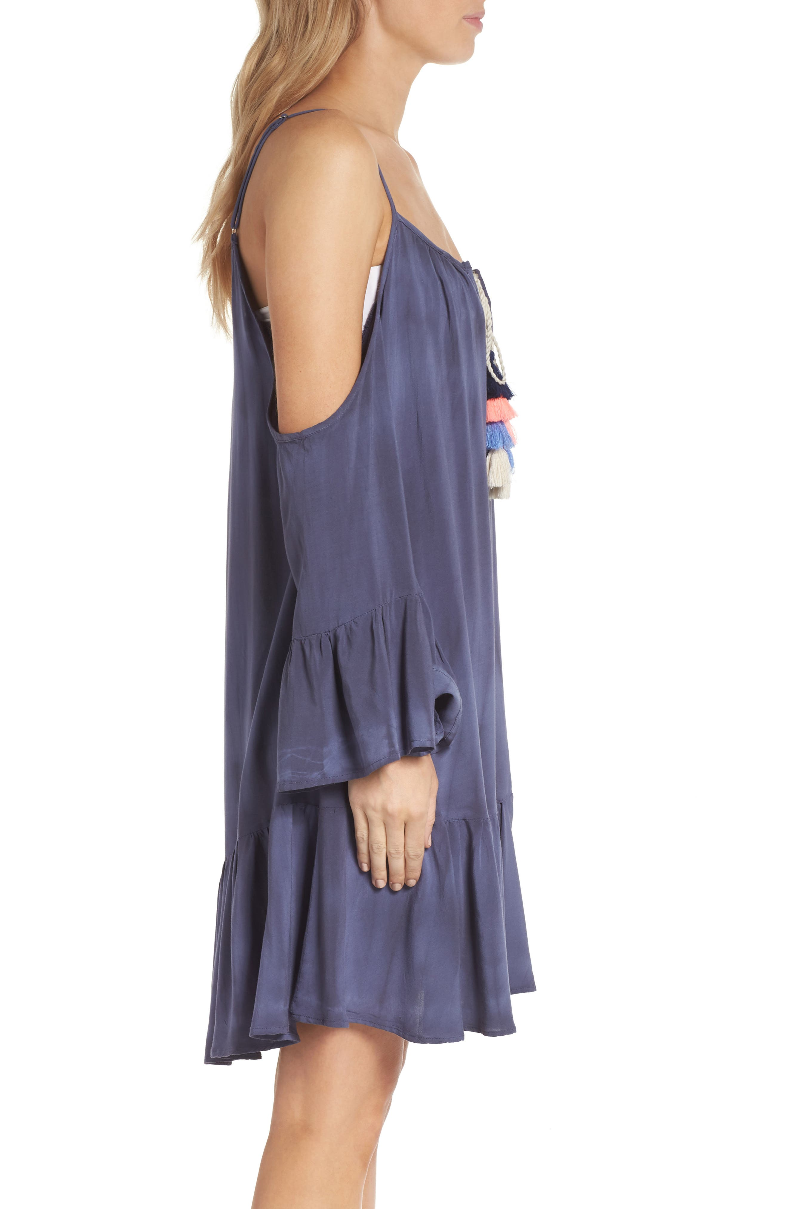 Tasseled Cold Shoulder Cover-Up Tunic,                             Alternate thumbnail 3, color,                             Washed Navy