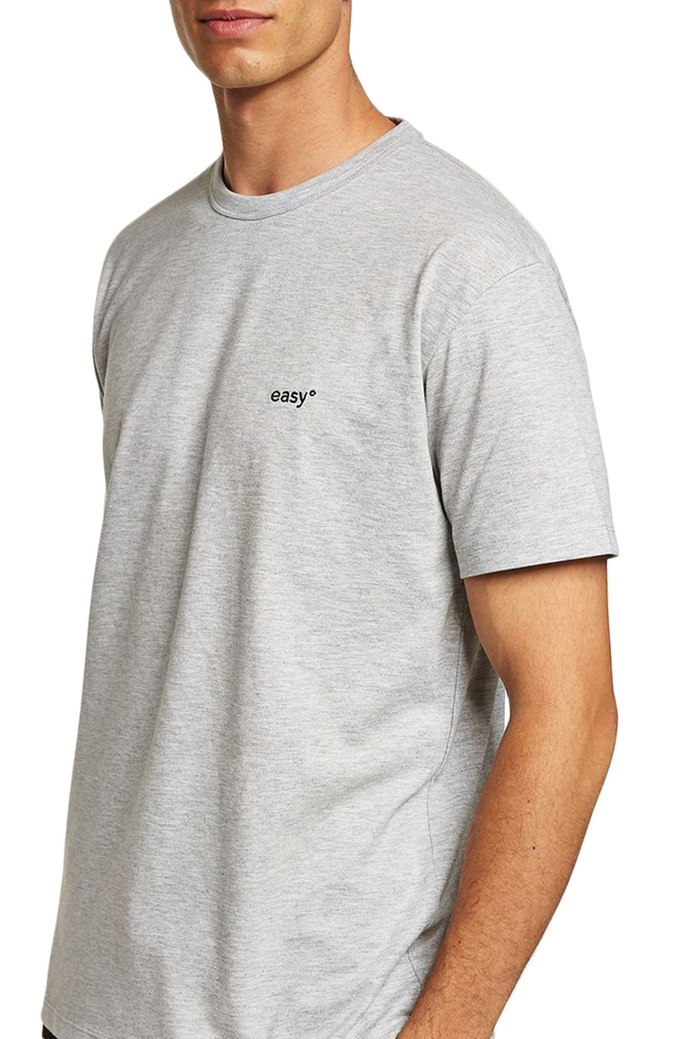 Oversize Embroidered Easy T-Shirt,                         Main,                         color, Grey