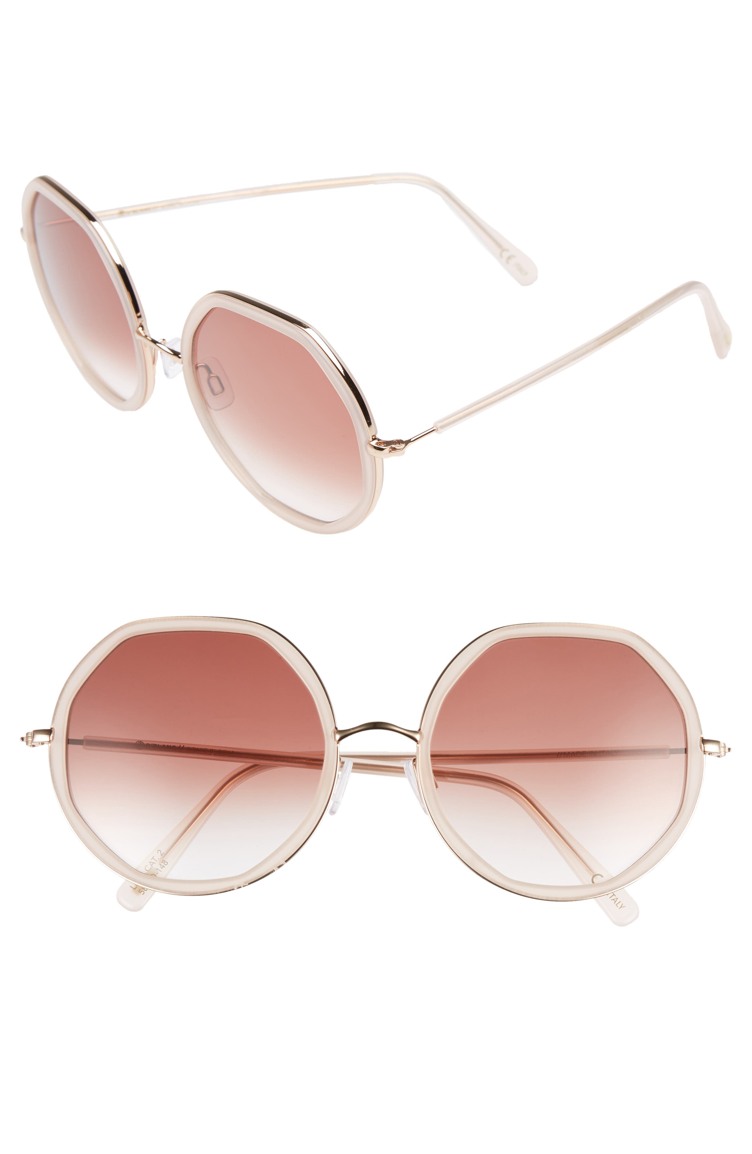 D'BLANC Sonic Bloom 58mm Sunglasses,                             Main thumbnail 1, color,                             Octagon Blush