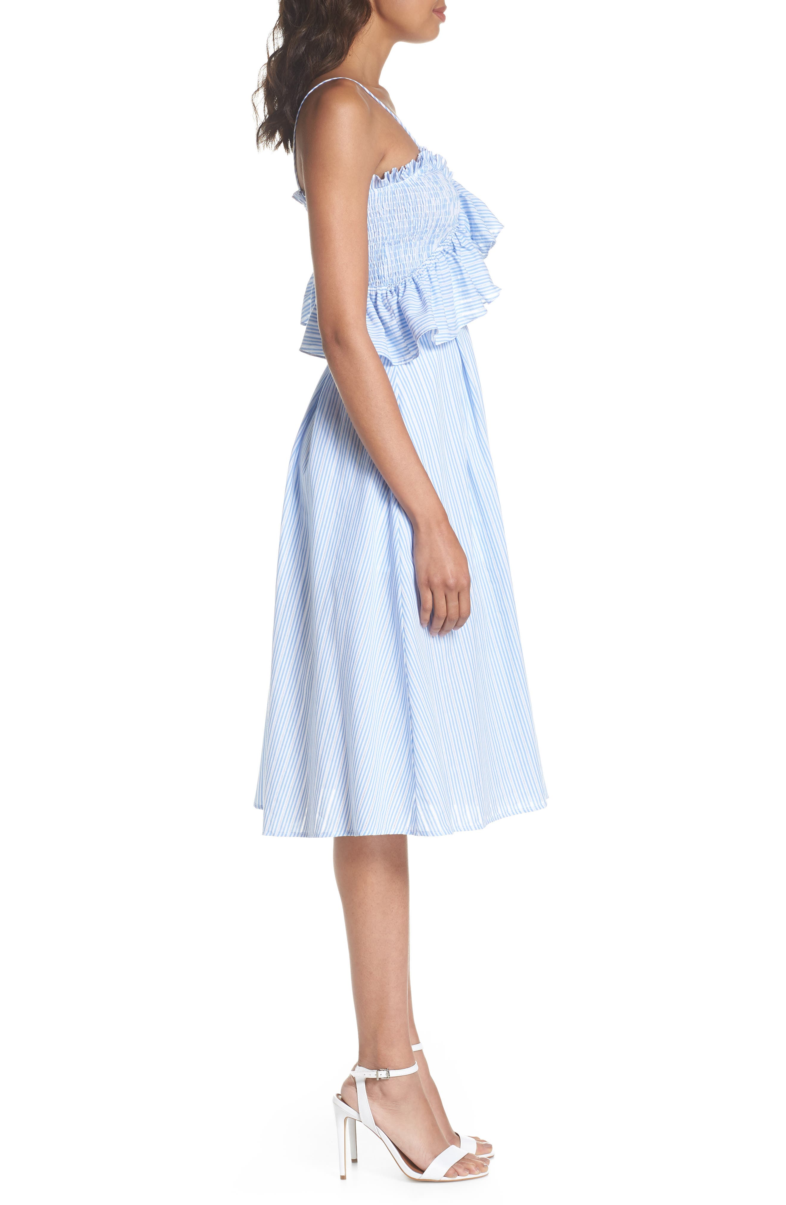 Stripe Poplin Fit & Flare Dress,                             Alternate thumbnail 3, color,                             Light Blue