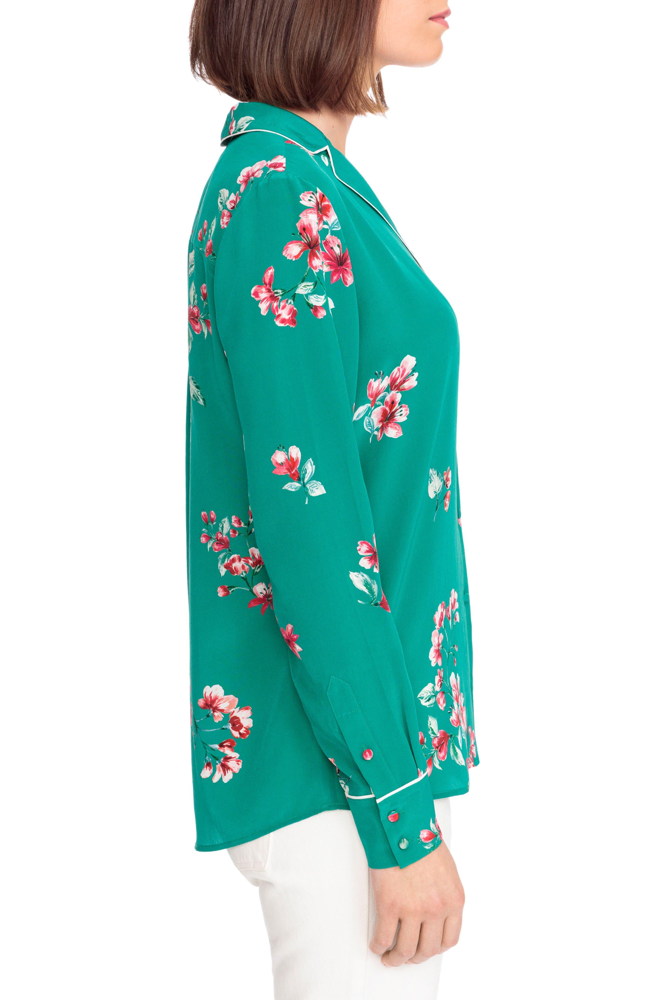Elisa Floral Silk Pajama Shirt,                             Alternate thumbnail 4, color,                             Bouquet Print On Green