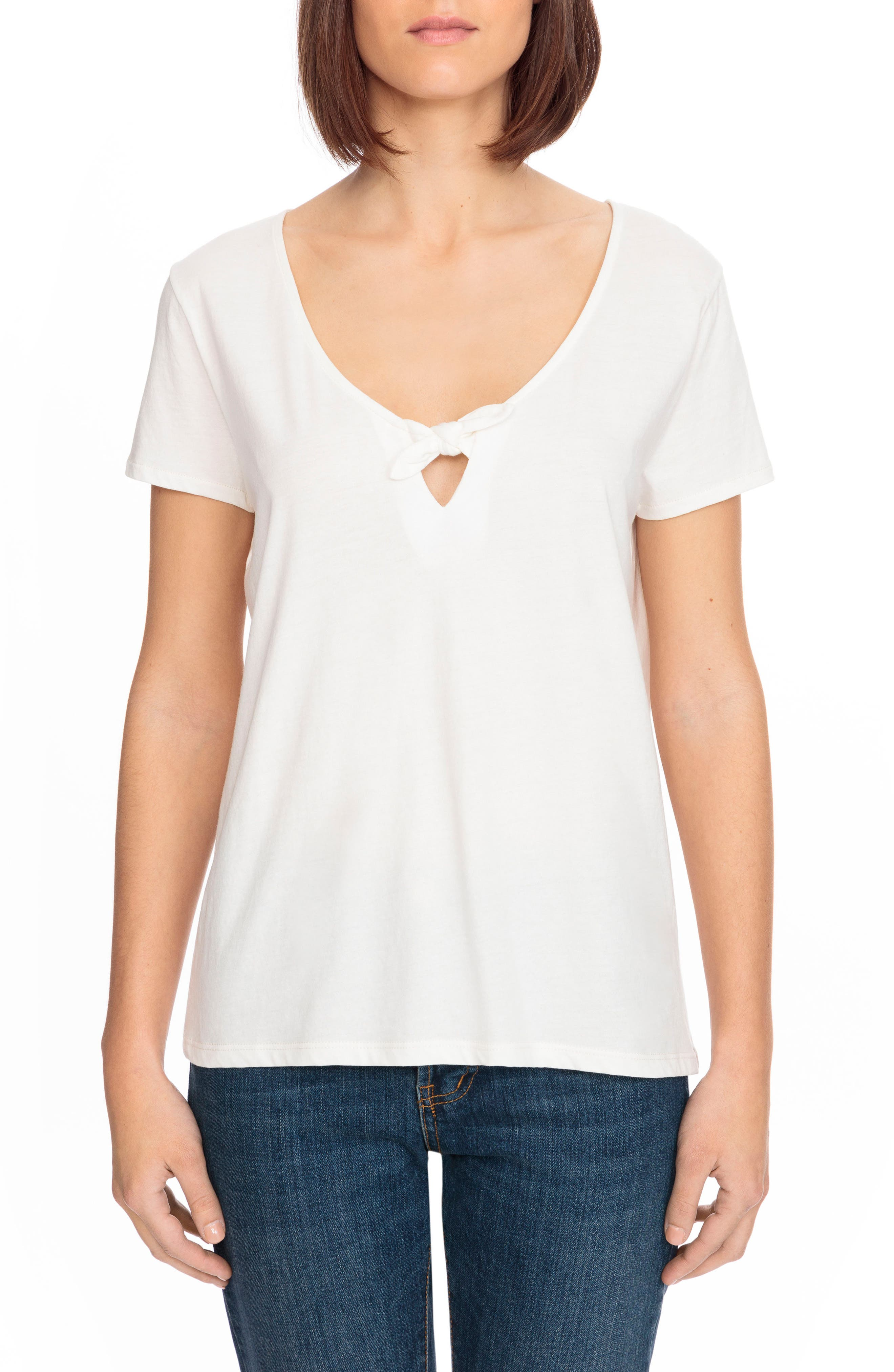 Lilian Tie Scoop Neck Tee,                             Main thumbnail 1, color,                             Off White