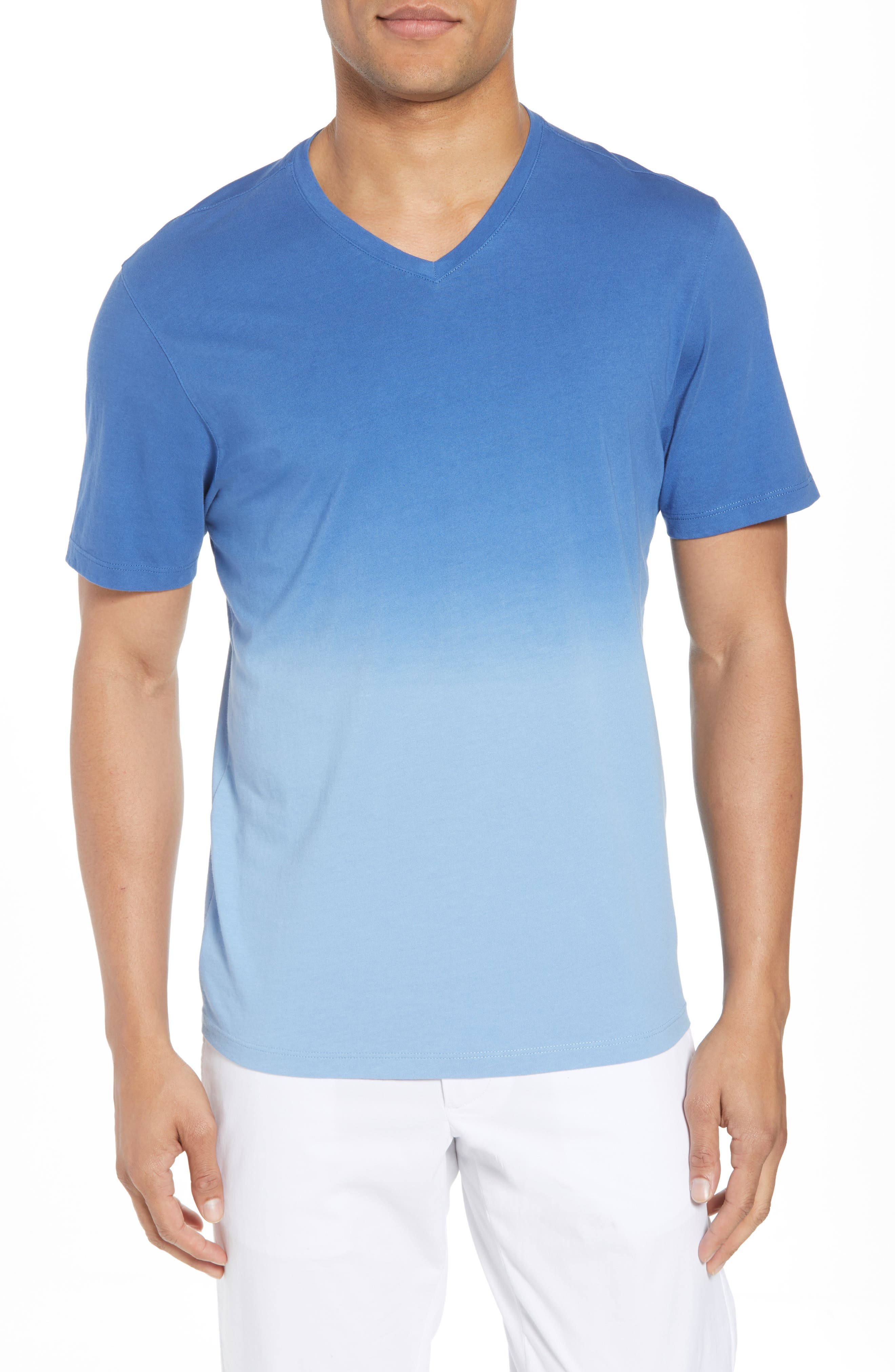 Canton Dip Dye V-Neck T-Shirt,                             Main thumbnail 1, color,                             Blue