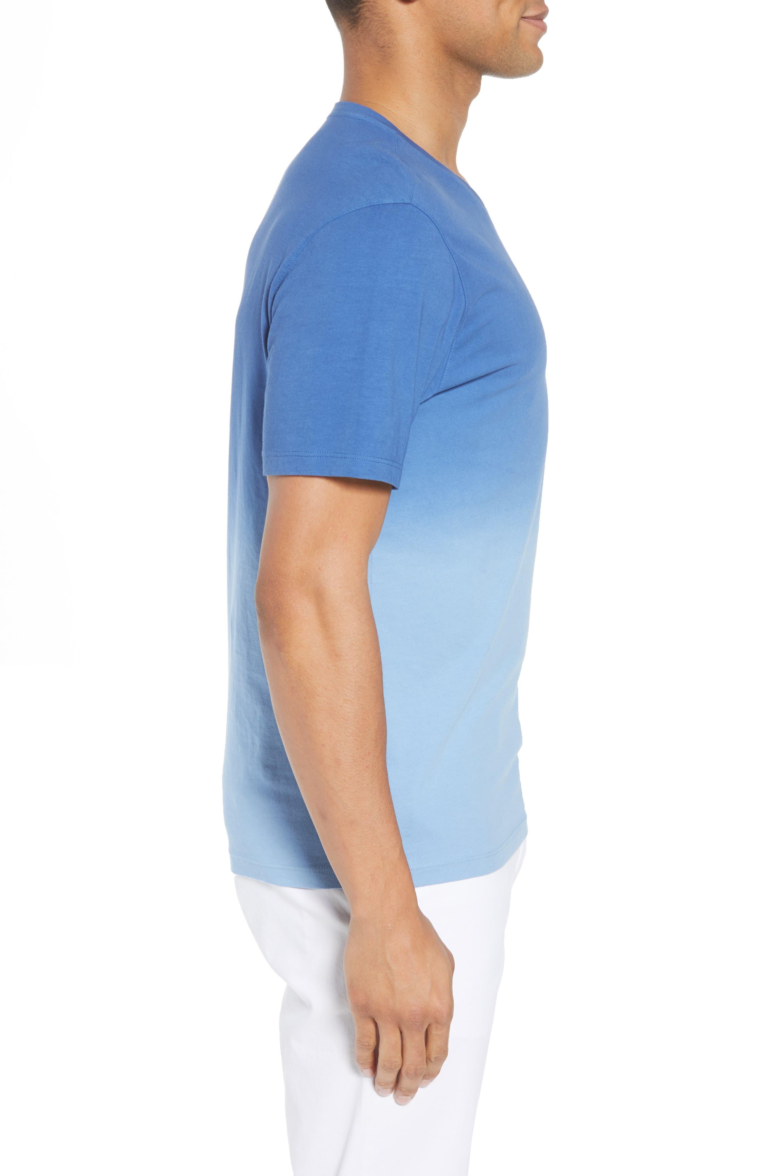 Canton Dip Dye V-Neck T-Shirt,                             Alternate thumbnail 3, color,                             Blue