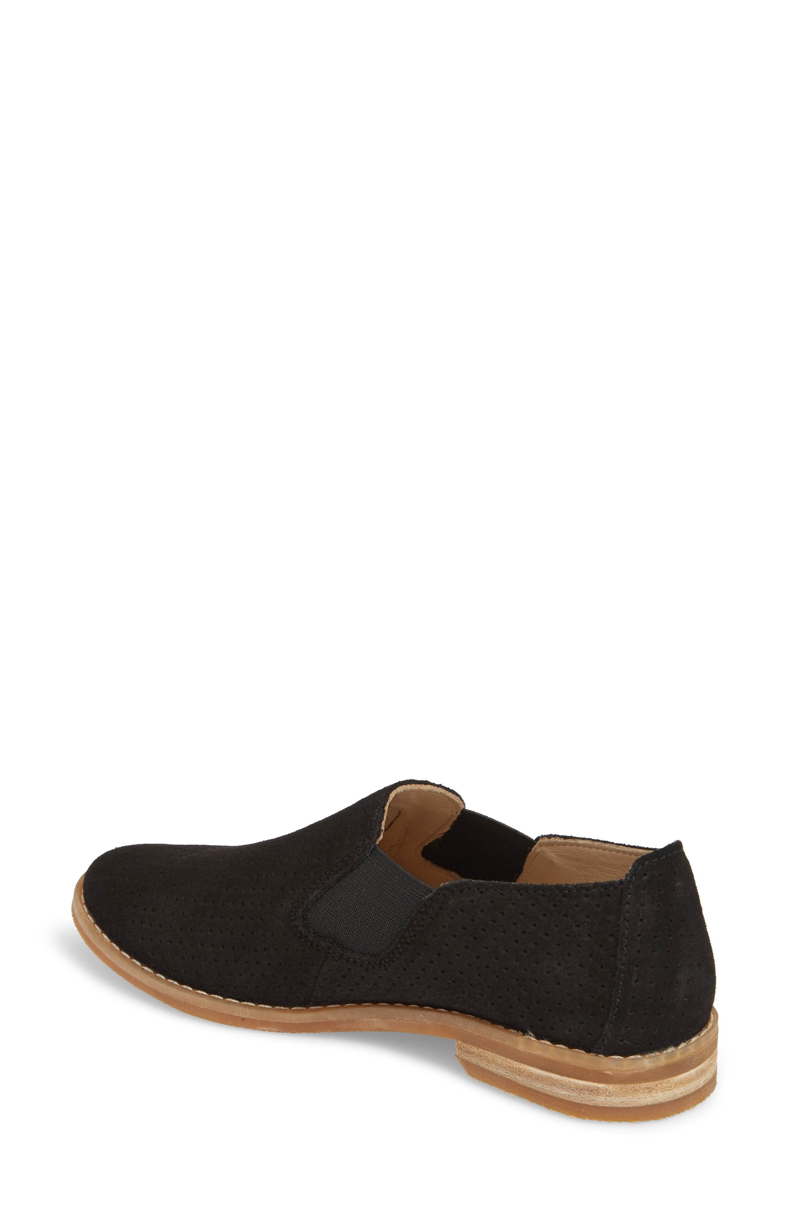 Hush Puppies Analise Clever Slip-On,                             Alternate thumbnail 2, color,                             Black Perforated Suede