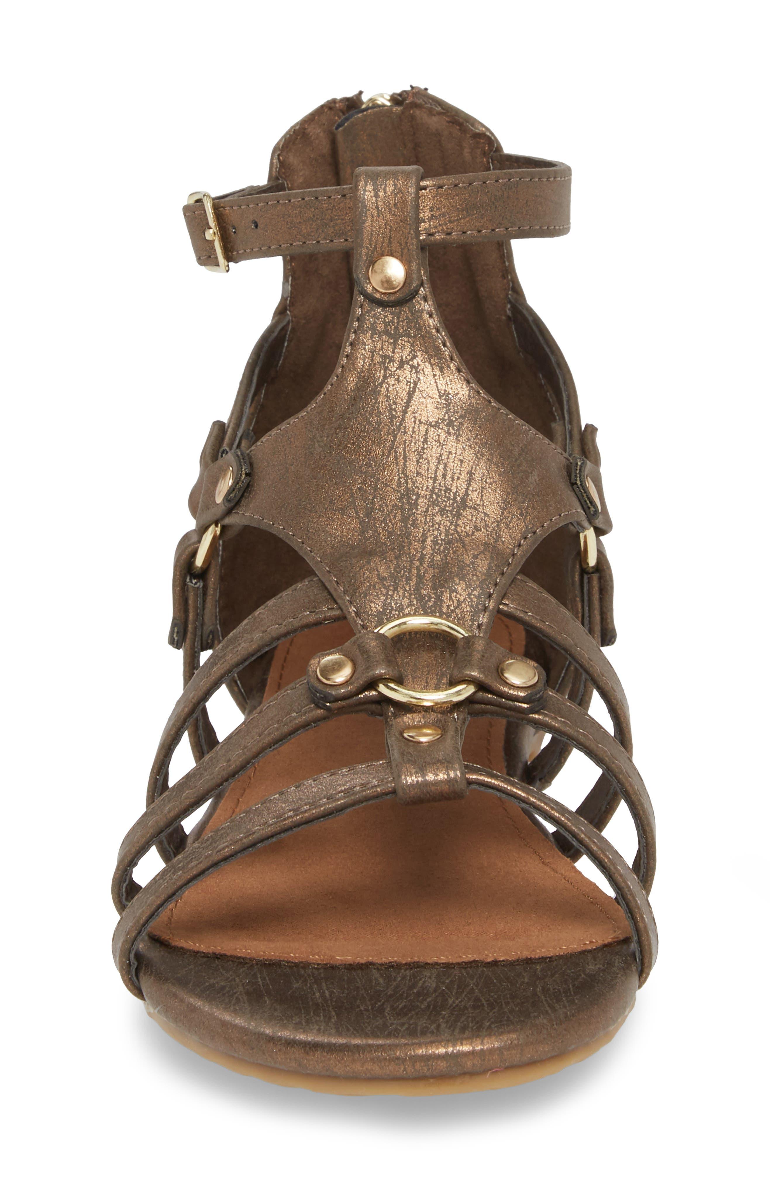 Reaction Kenneth Cole Kiera Metallic Sandal,                             Alternate thumbnail 4, color,                             Bronze