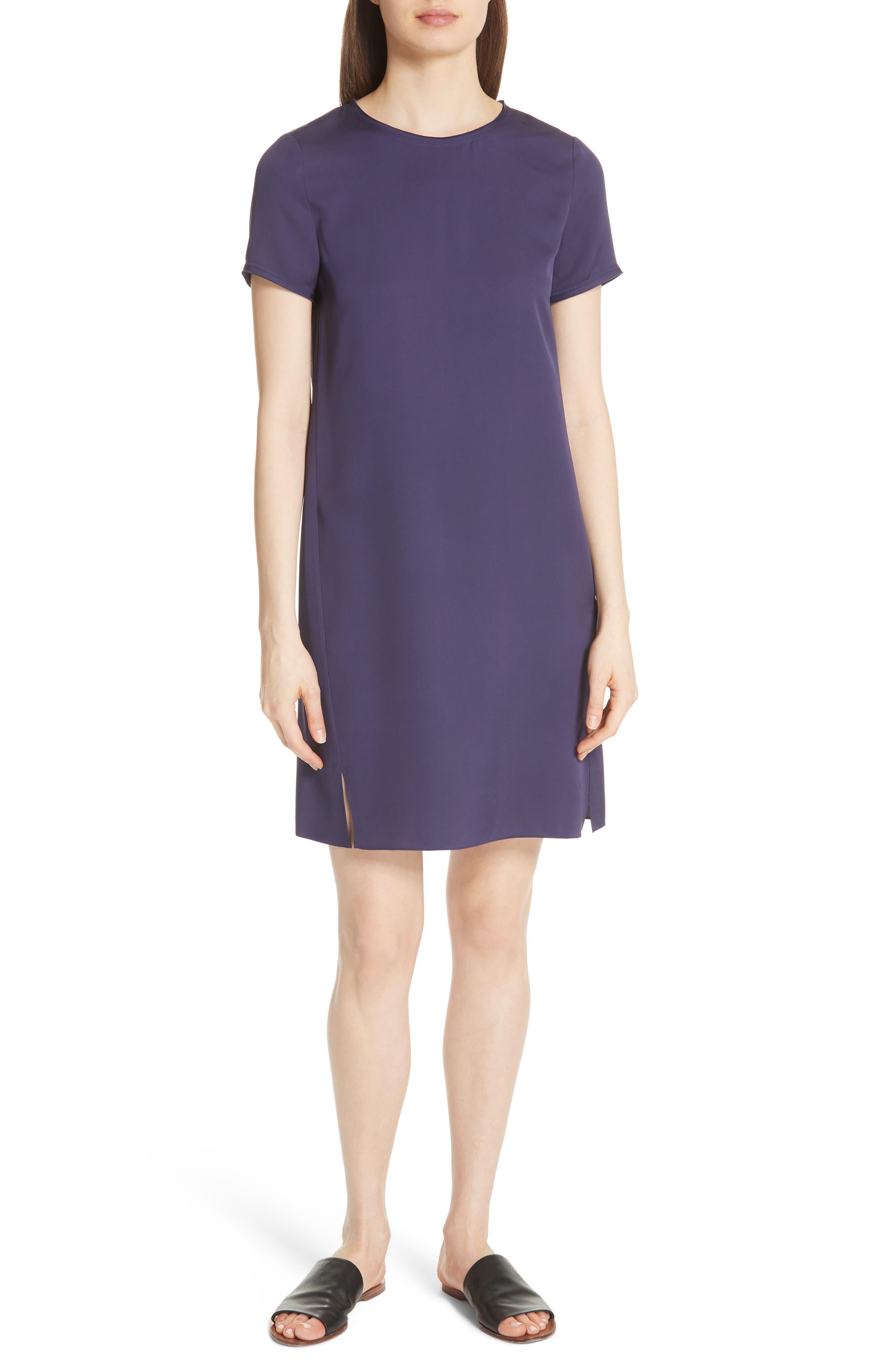 Modern Silk T-Shirt Dress,                             Main thumbnail 1, color,                             Plum Purple