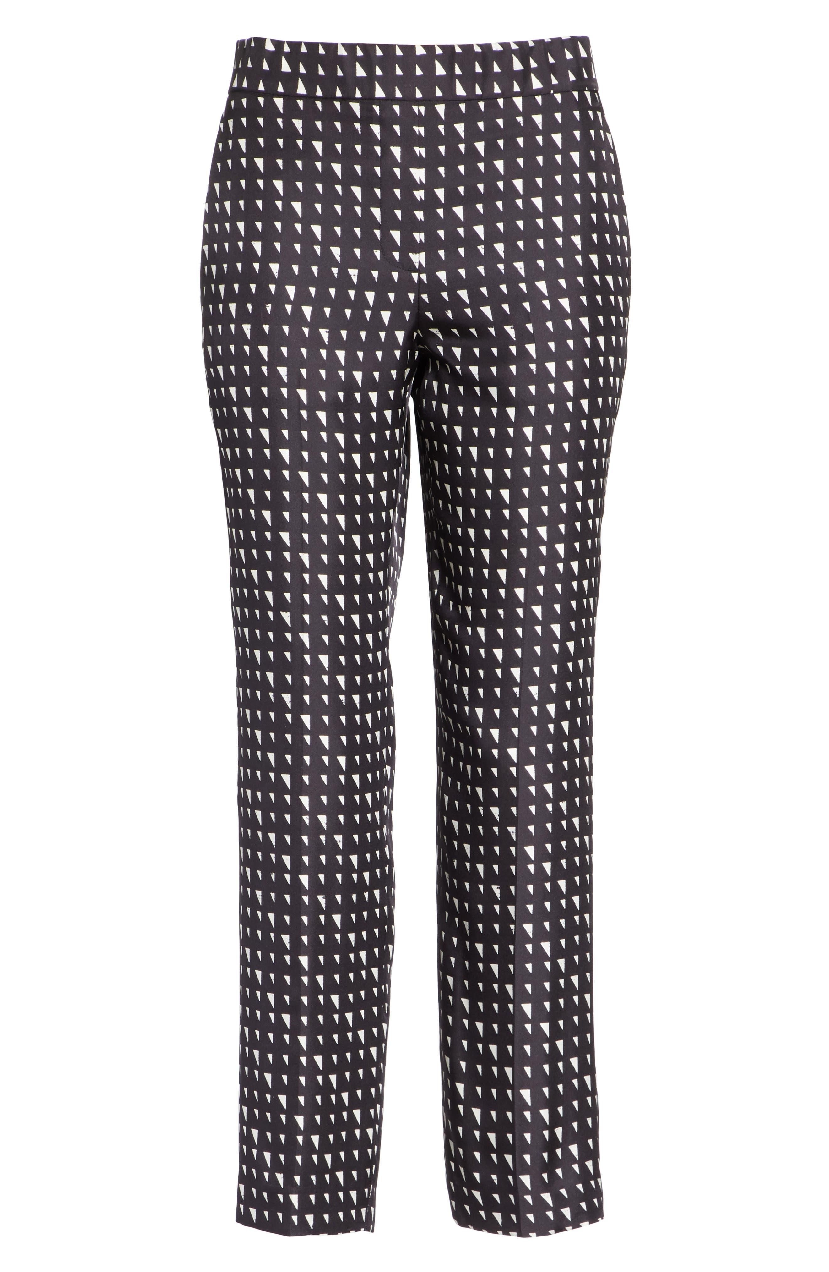 Pull On Silk Trousers,                             Alternate thumbnail 6, color,                             Black/ Ivory