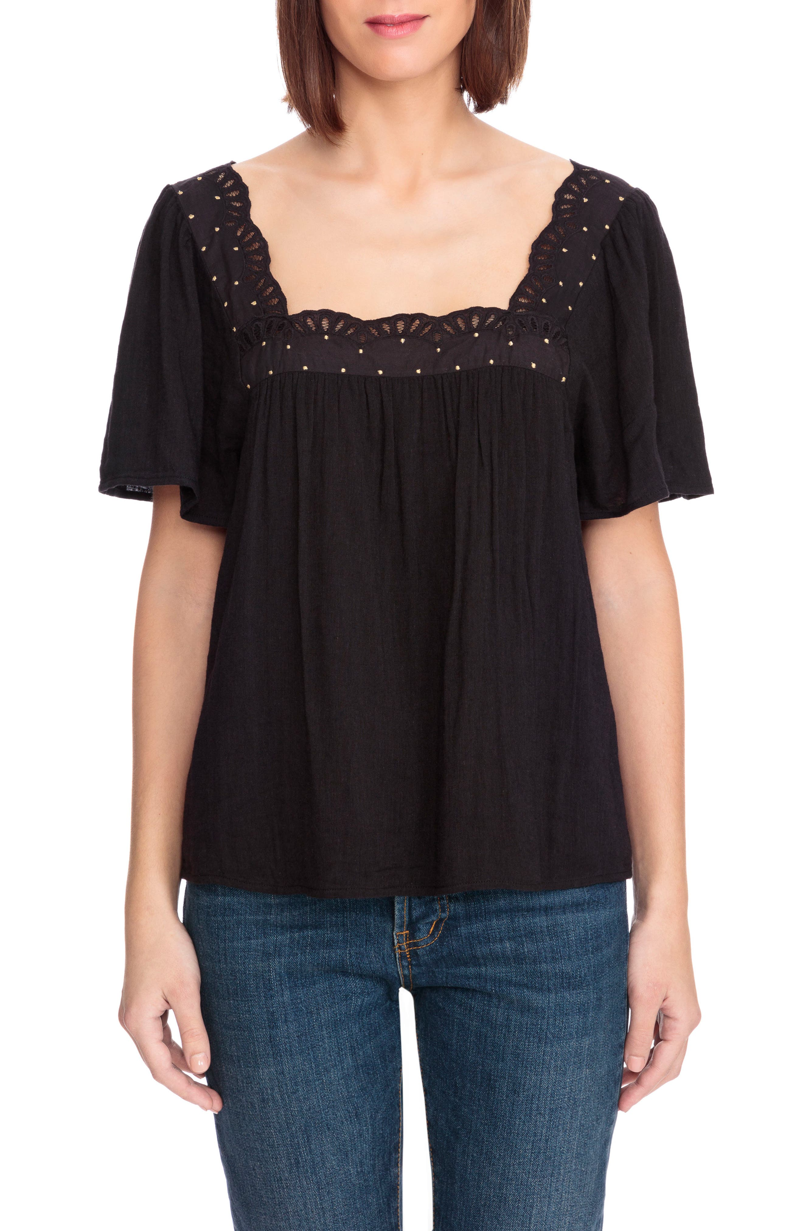 Bea Scalloped Top,                         Main,                         color, Black