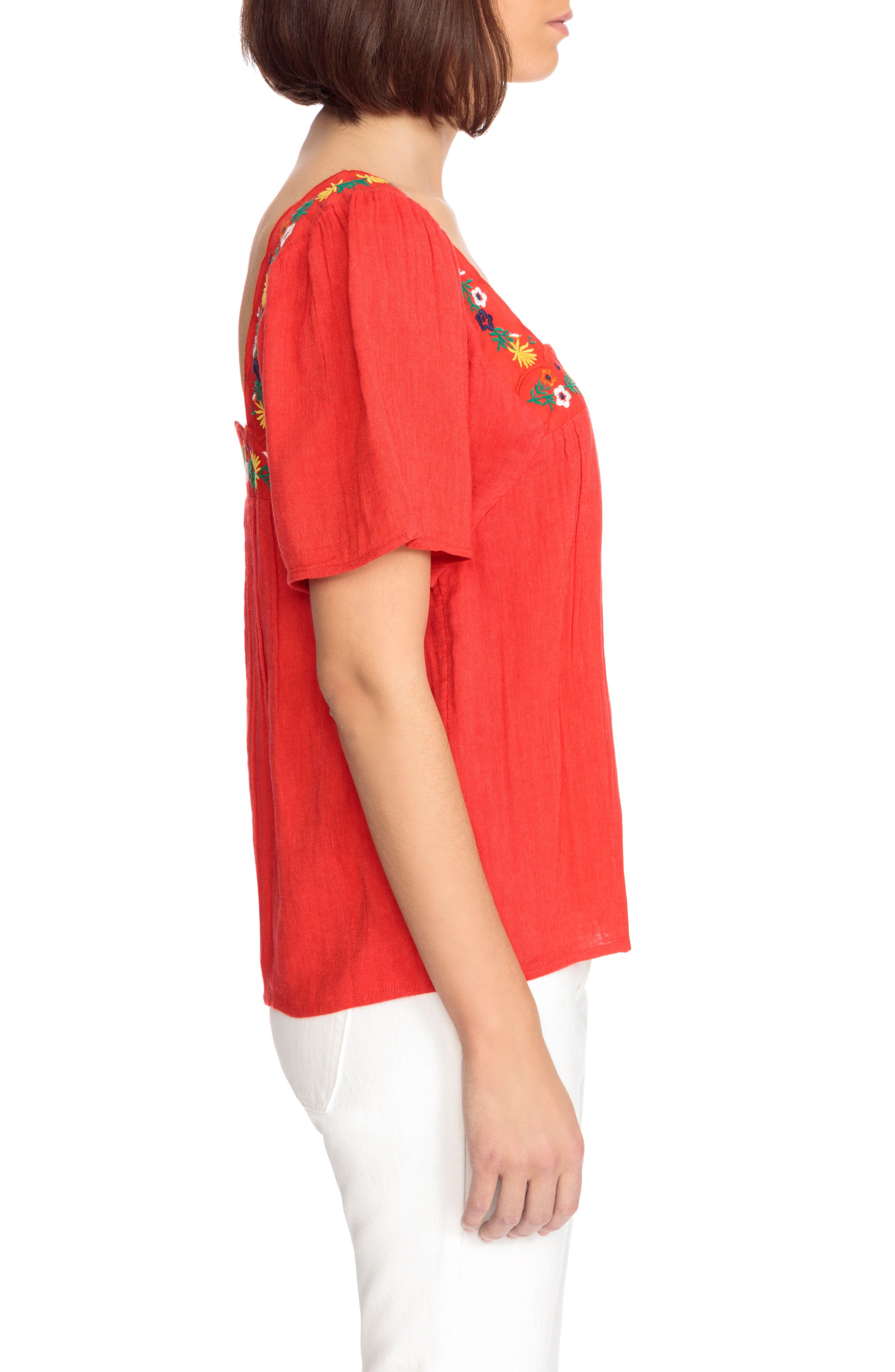Bea Scalloped Top,                             Alternate thumbnail 4, color,                             Coral Red