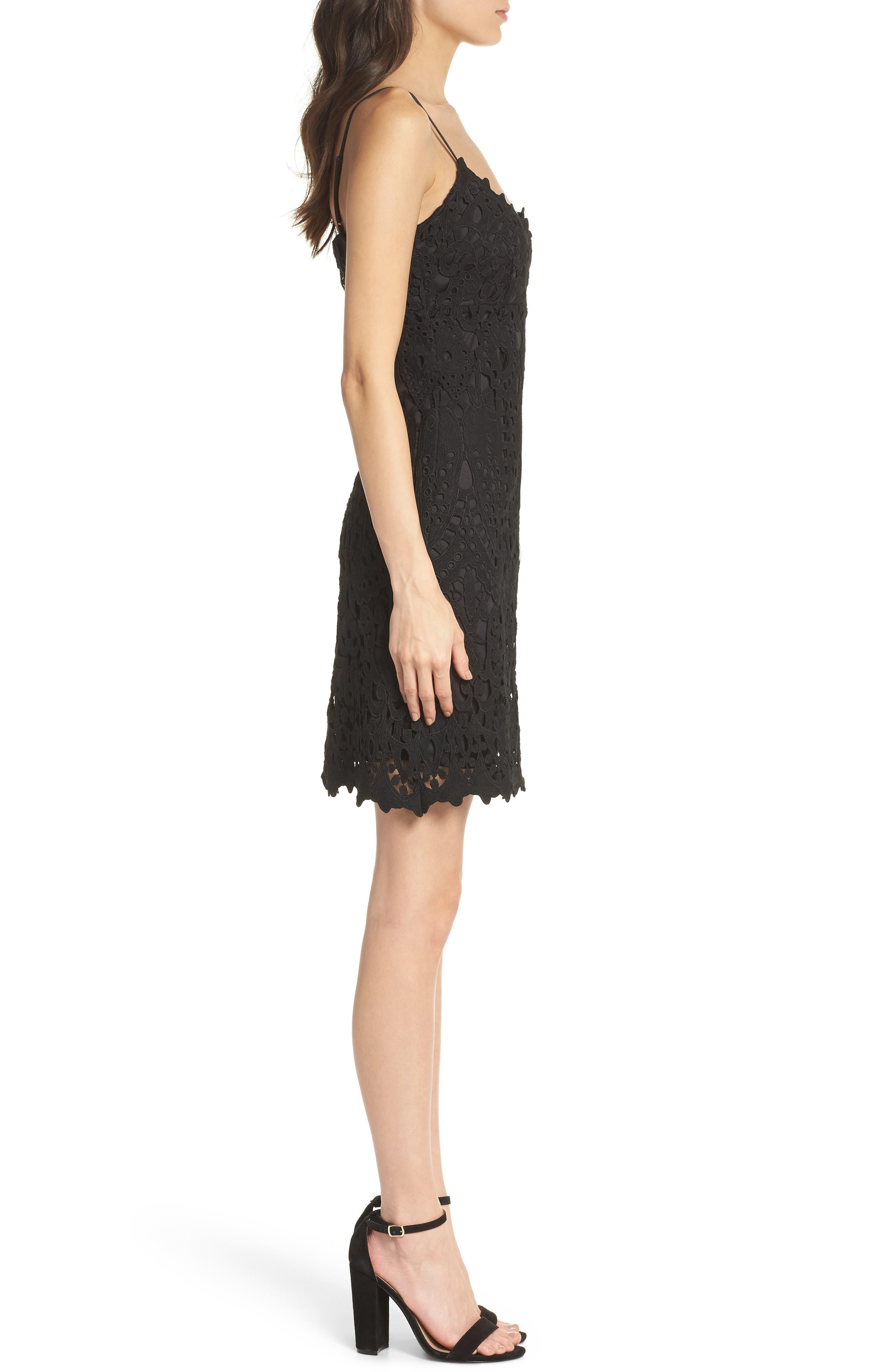 Natalie Crochet Lace Minidress,                             Alternate thumbnail 3, color,                             Black