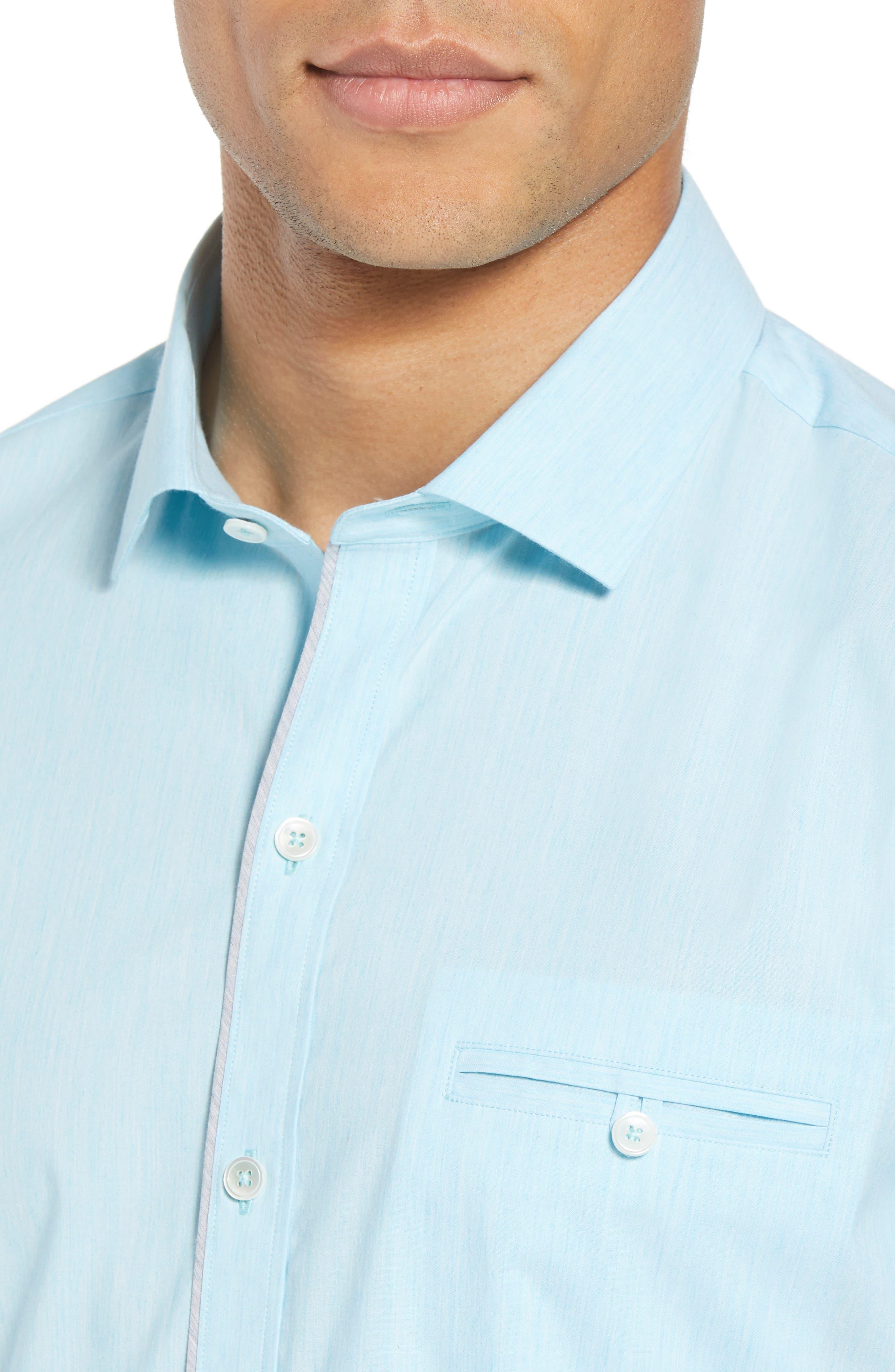 Baumann Slim Fit Sport Shirt,                             Alternate thumbnail 4, color,                             Aqua