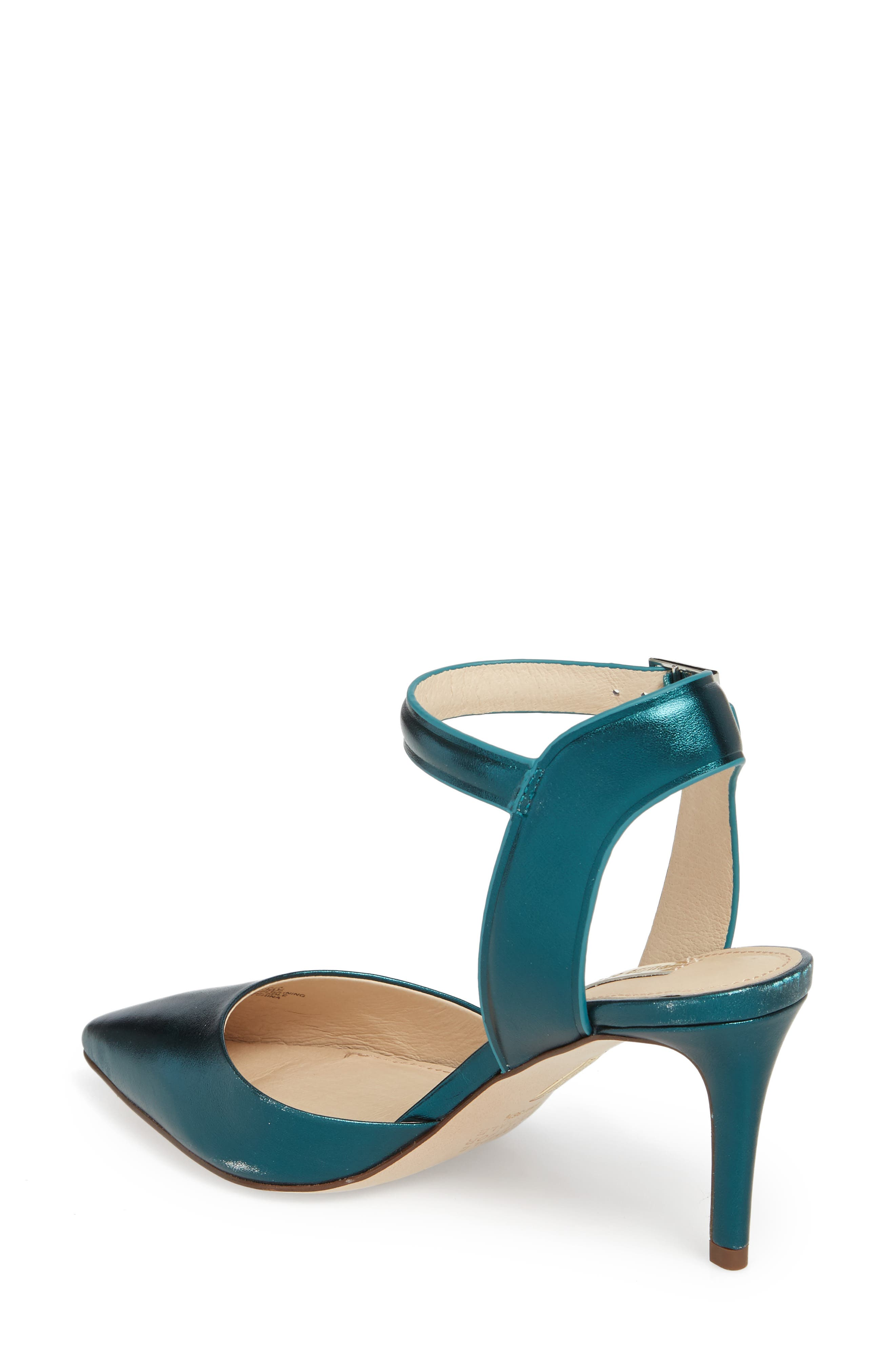Kota Ankle Strap Pump,                             Alternate thumbnail 2, color,                             Teal Metallic Leather