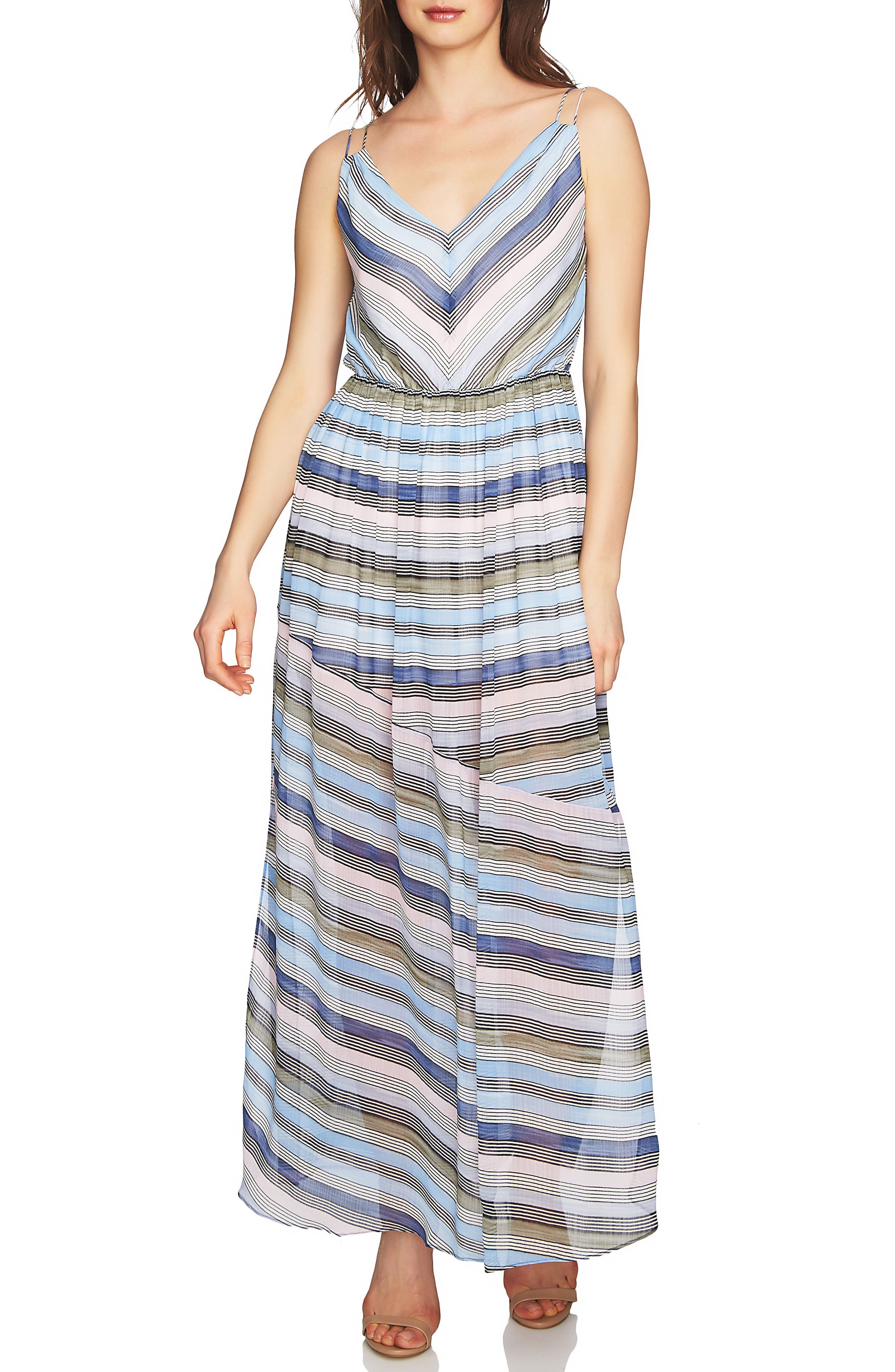 Jordan Stripe Maxi Dress,                             Main thumbnail 1, color,                             Rainfall
