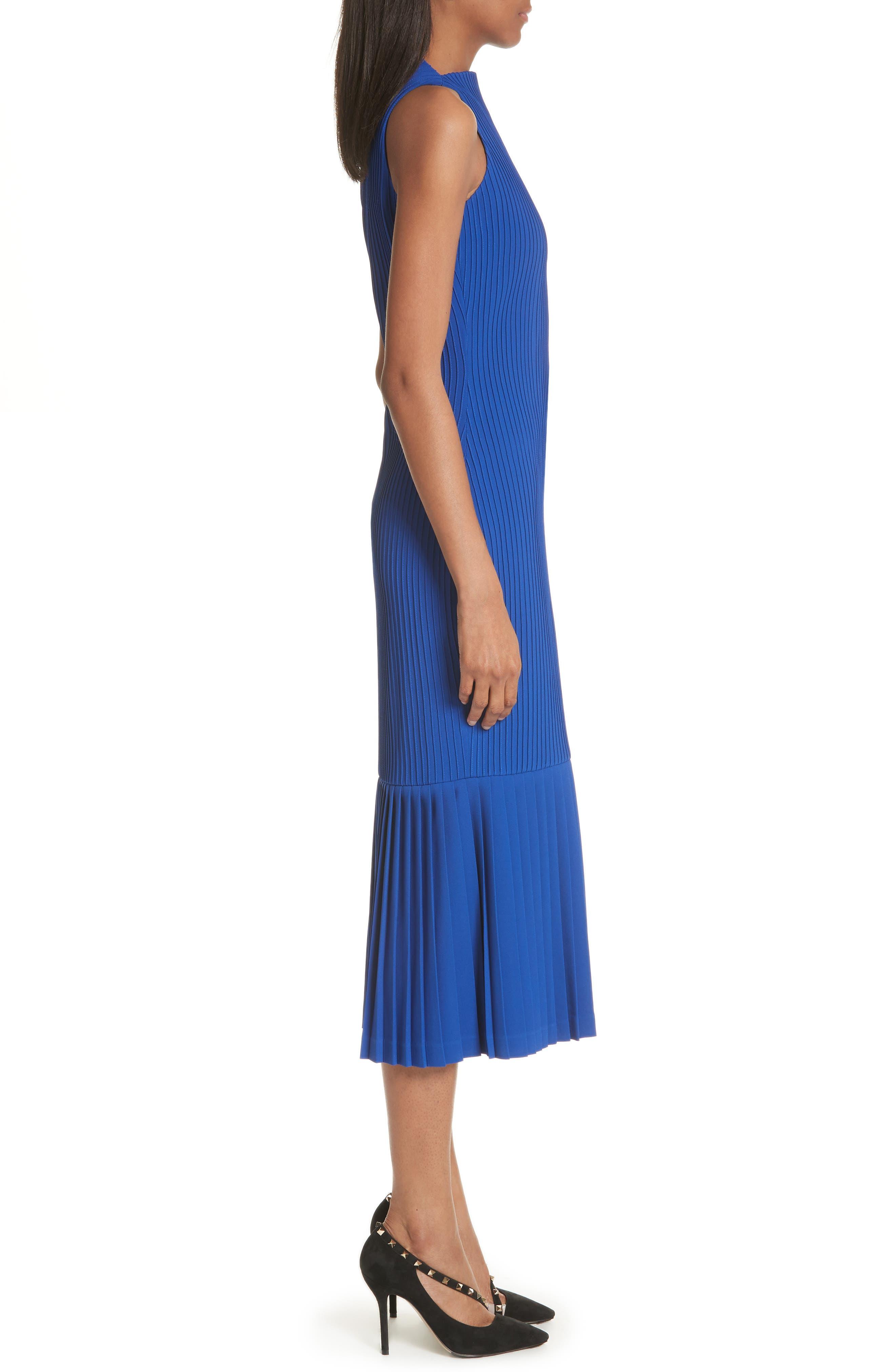 Pintuck Flare Hem Dress,                             Alternate thumbnail 3, color,                             Cobalt