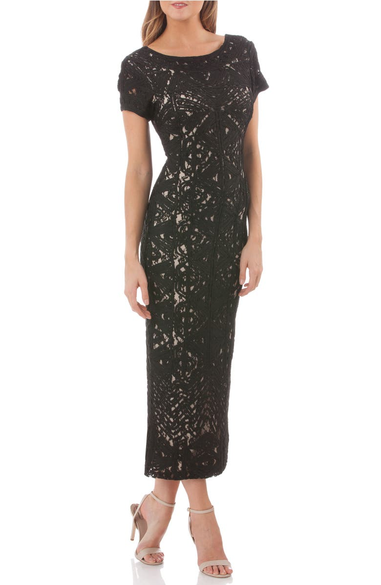 Shoptagr   Graphic Soutache Lace Gown by Js Collections