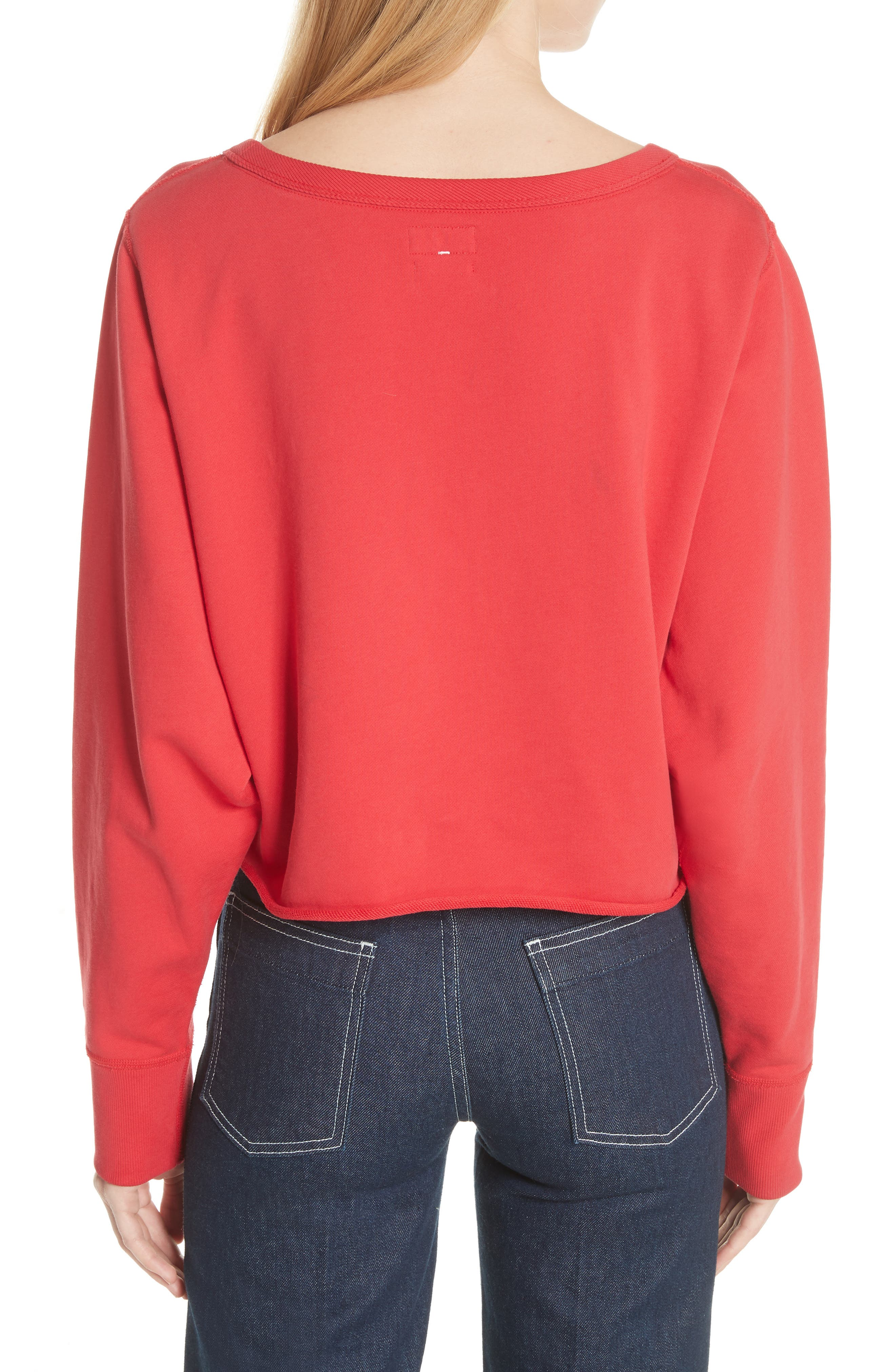 Crop Pullover,                             Alternate thumbnail 2, color,                             True Red