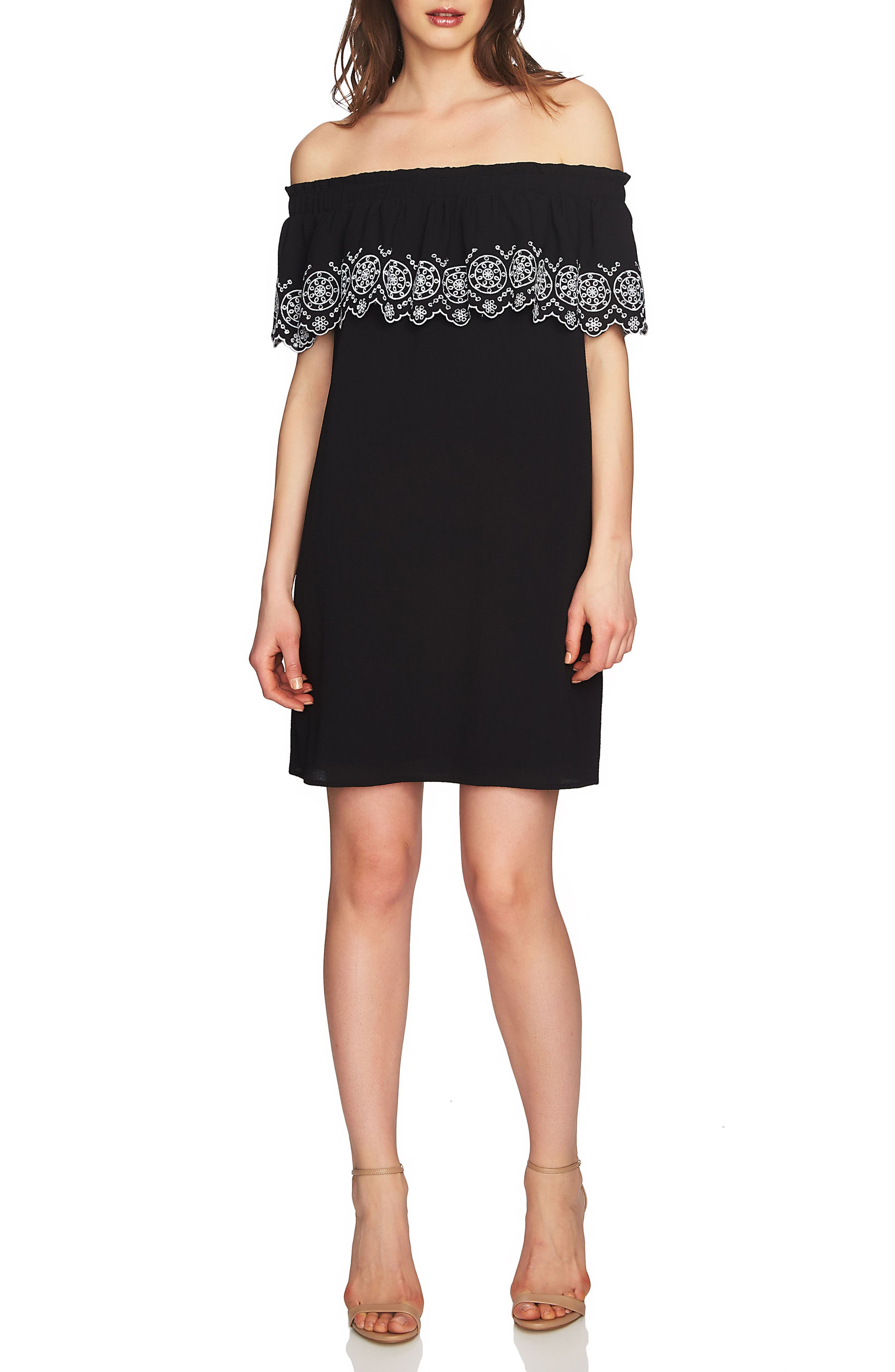 Tenley Off the Shoulder Embroidered Dress,                         Main,                         color, Rich Black