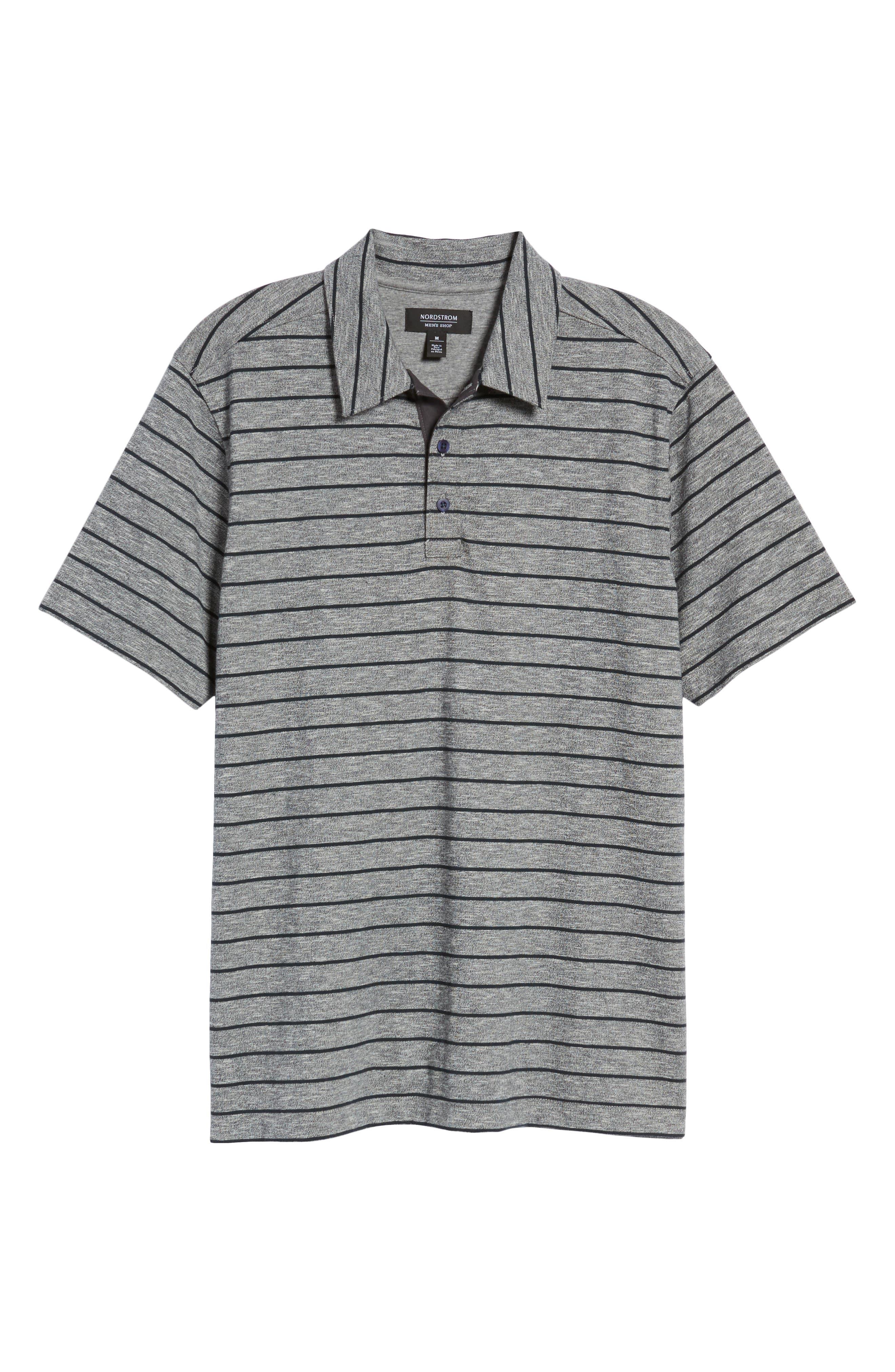 Stripe Polo,                             Alternate thumbnail 6, color,                             Grey Heather Navy Stripe