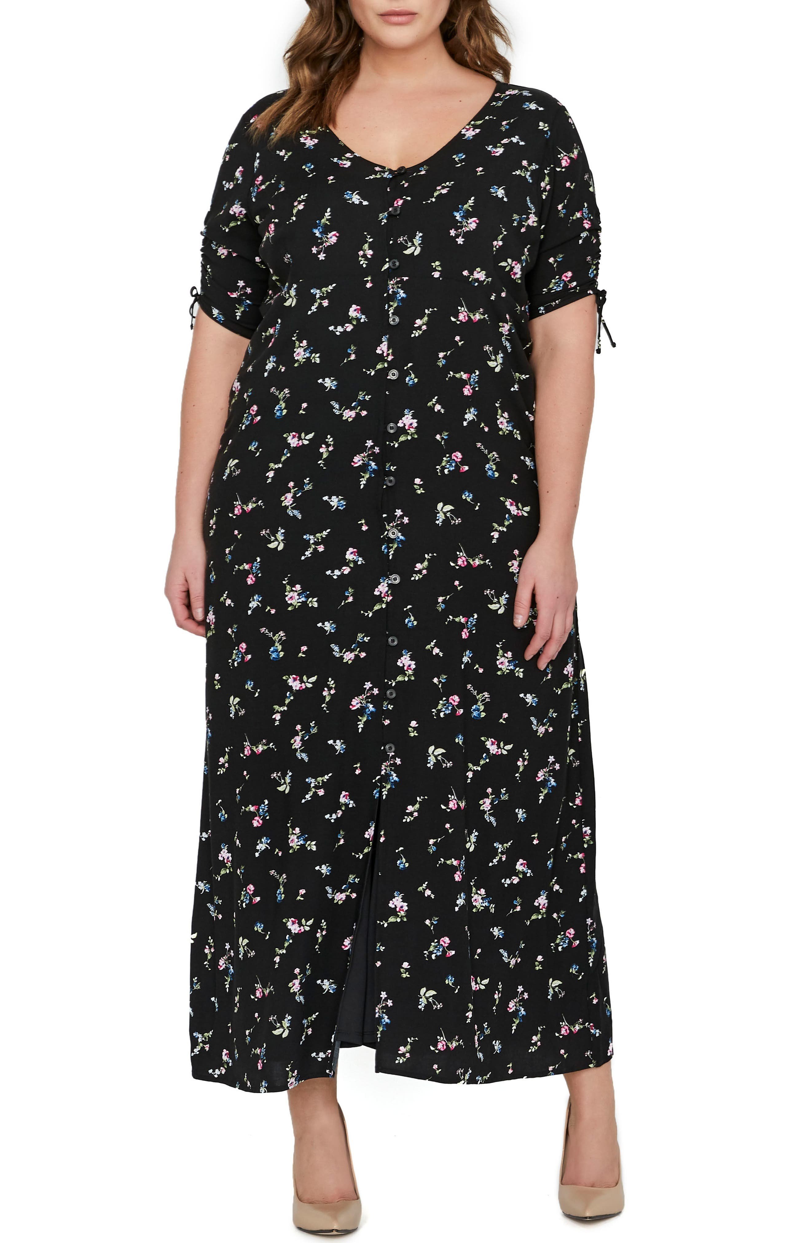MICHEL STUDIO Floral Maxi Shirtdress (Plus Size)