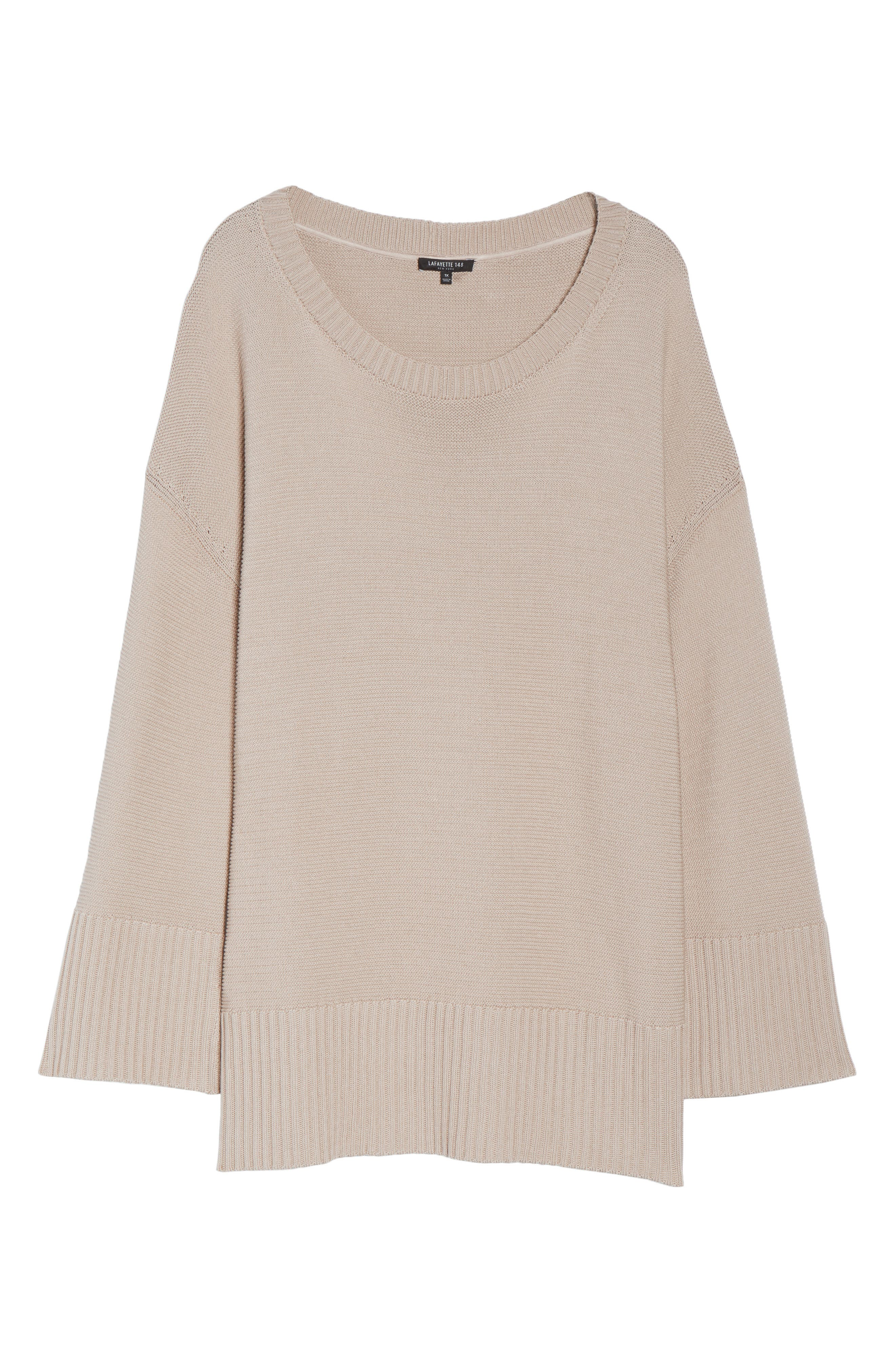 Lafayette 148 Silk and Cotton Sweater,                             Alternate thumbnail 6, color,                             Khaki