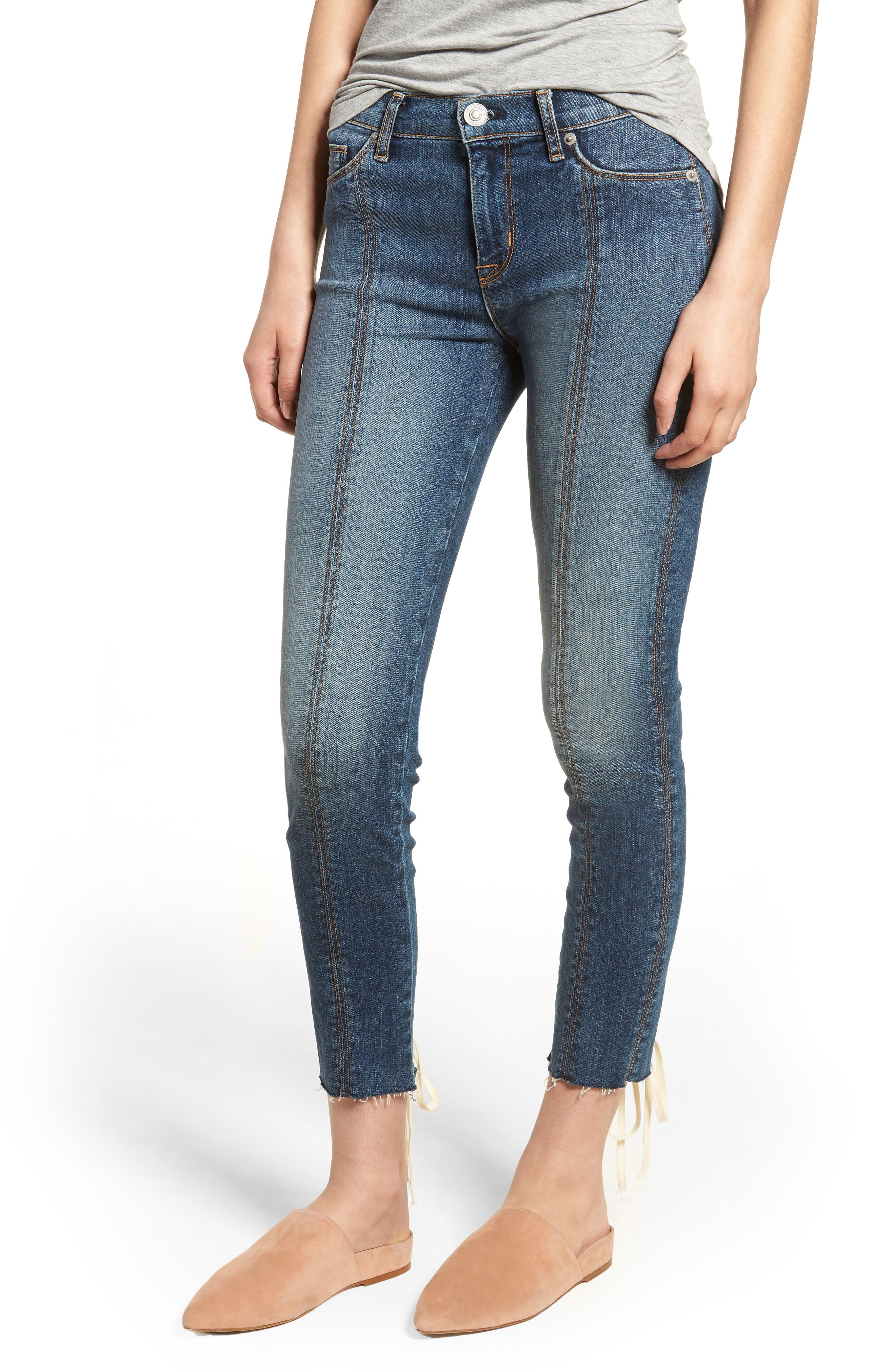 Nico Lace-Up Crop Skinny Jeans,                             Main thumbnail 1, color,                             Unfamed