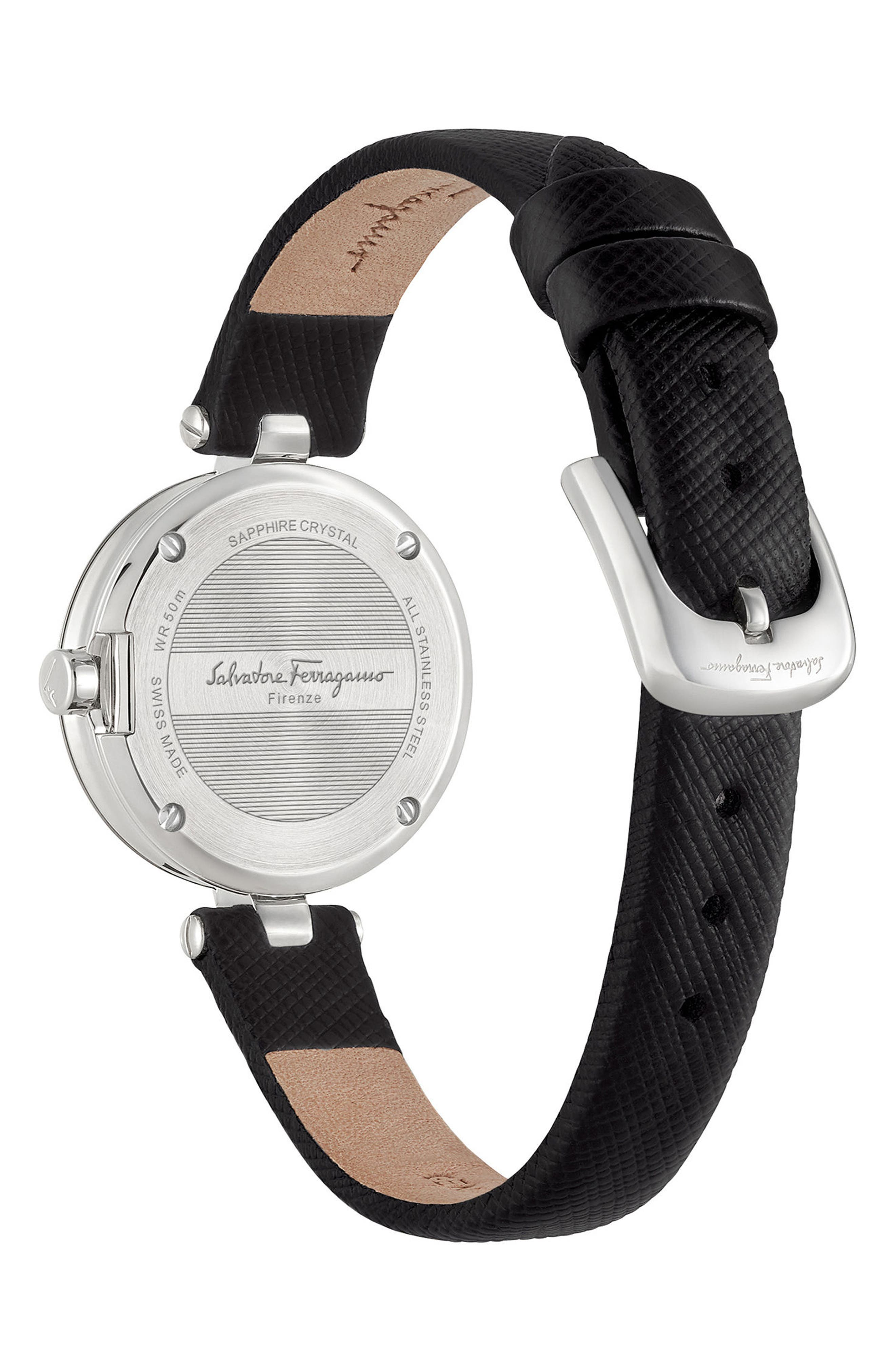 Miniature Leather Strap Watch, 26mm,                             Alternate thumbnail 2, color,                             Black/ Silver