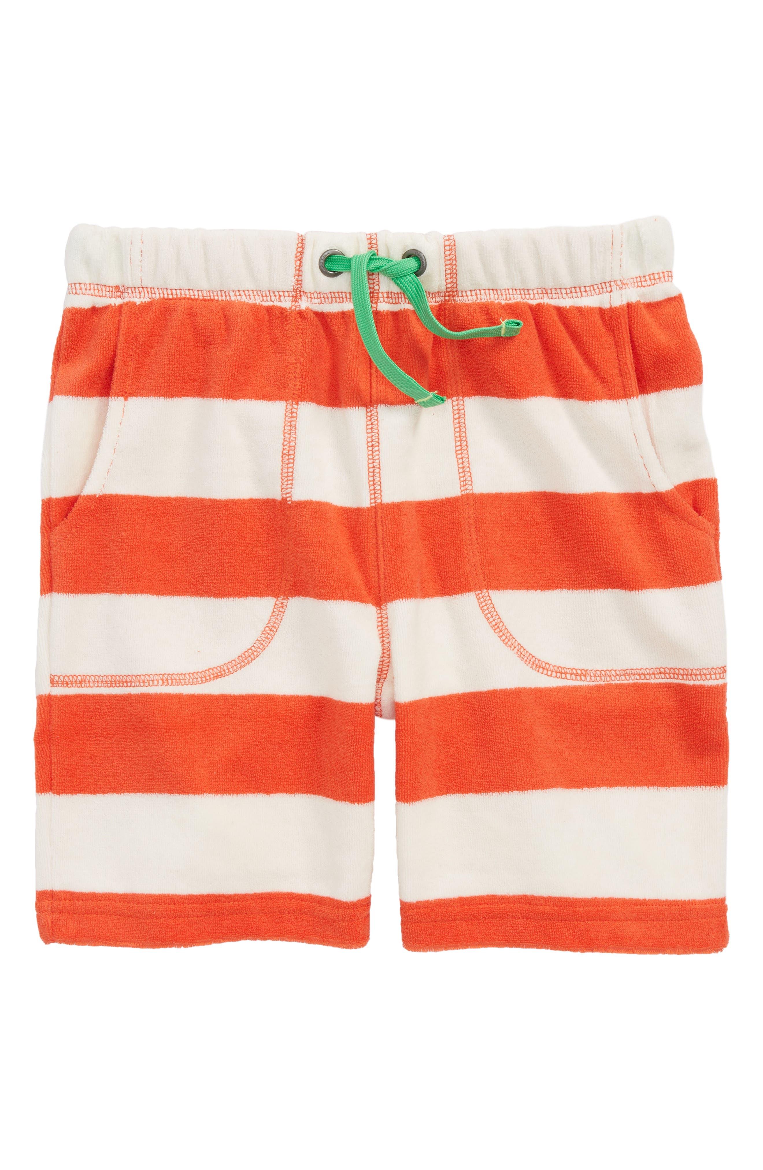 Stripe Toweling Shorts,                             Main thumbnail 1, color,                             Melon Crush Red/ Ecru