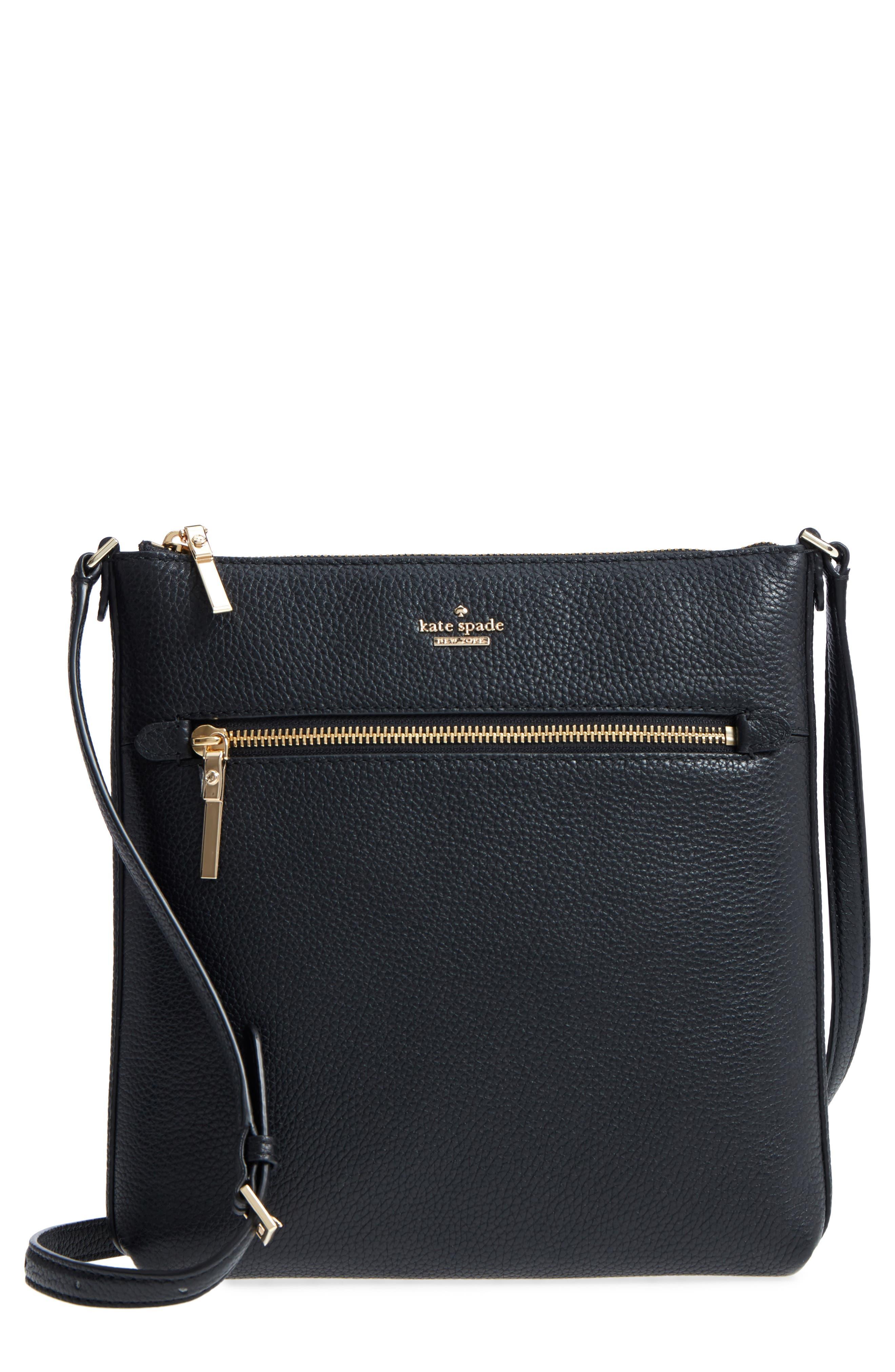 oakwood street - malia leather crossbody bag, Main, color, Black
