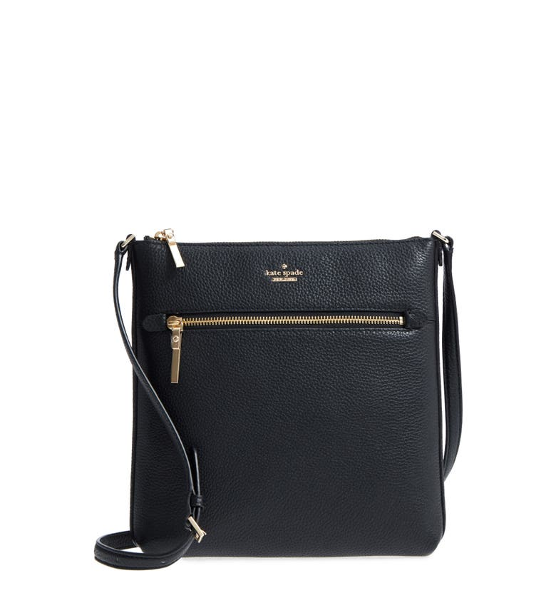 oakwood street - malia leather crossbody bag, Main, color, Black