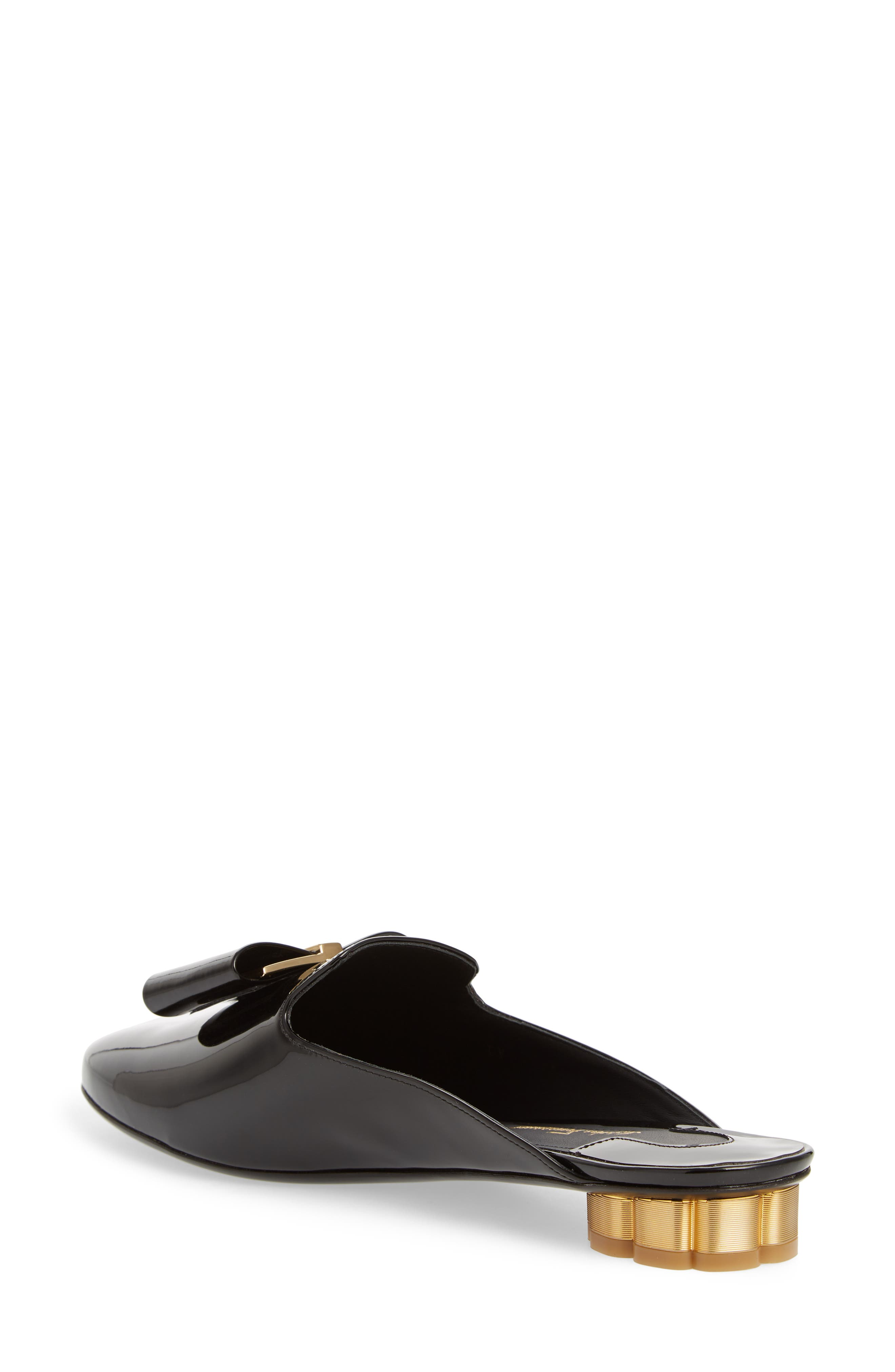 Sciacca Bow Loafer Mule,                             Alternate thumbnail 2, color,                             Black Patent
