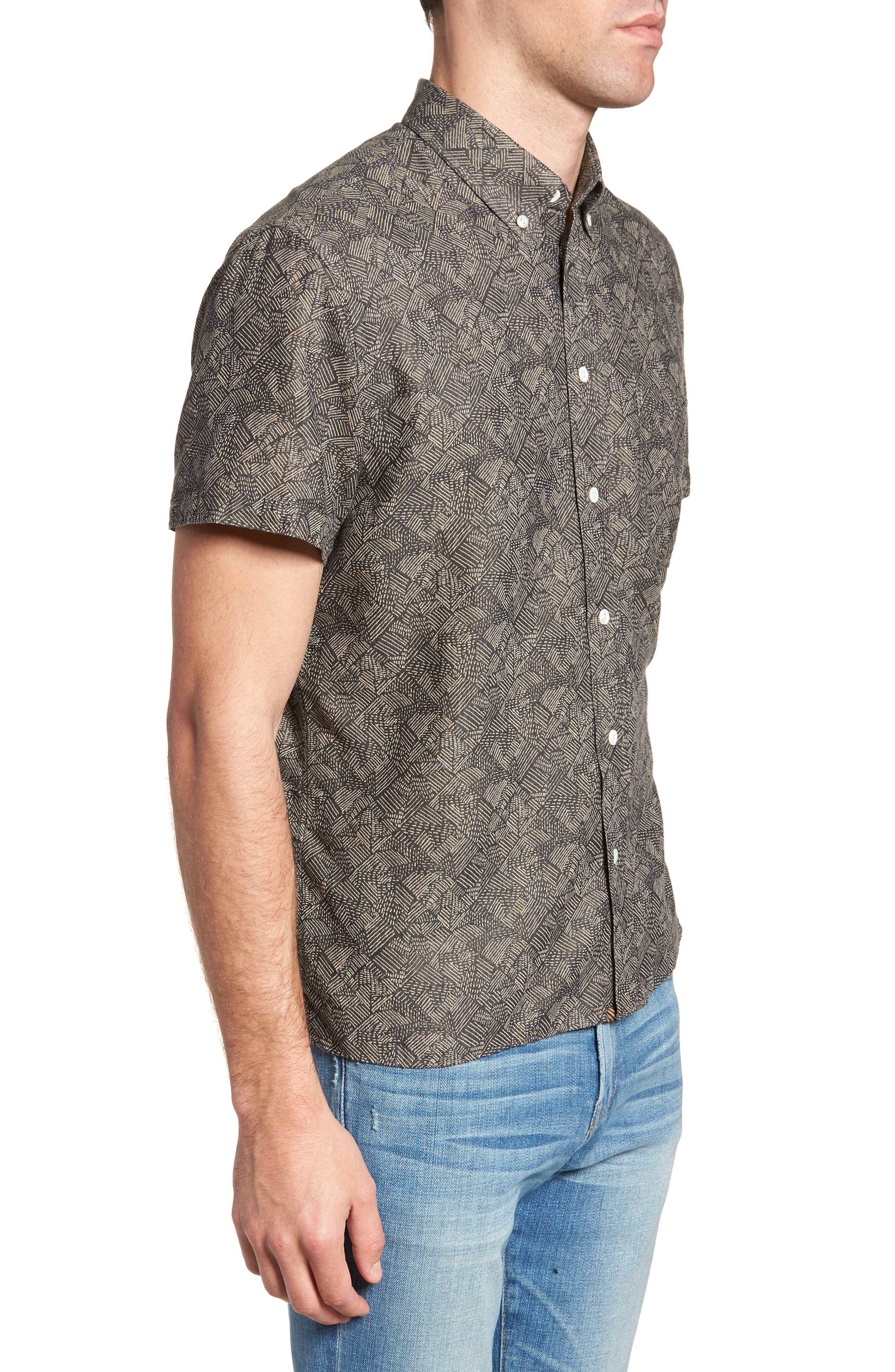 Leo Standard Fit Short Sleeve Sport Shirt,                             Alternate thumbnail 4, color,                             Slate Field Line
