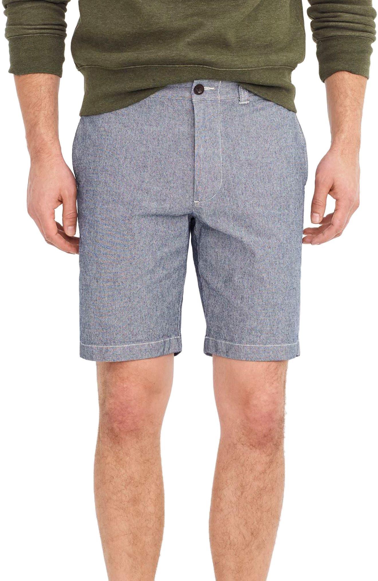 J.Crew Stretch Chambray Shorts,                         Main,                         color, Royal Navy