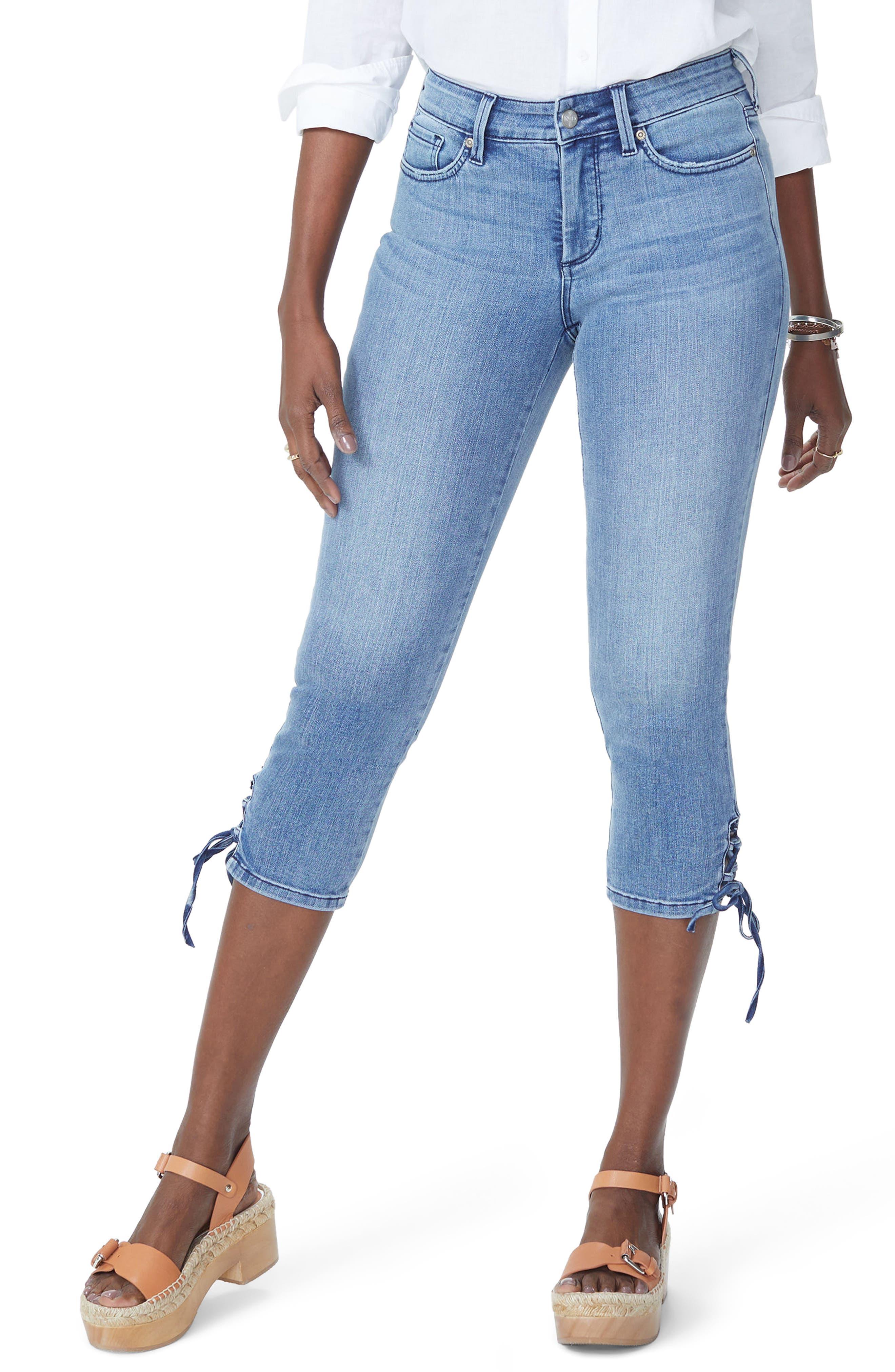 Lace Up Hem Capri Jeans,                             Main thumbnail 1, color,                             Point Dume