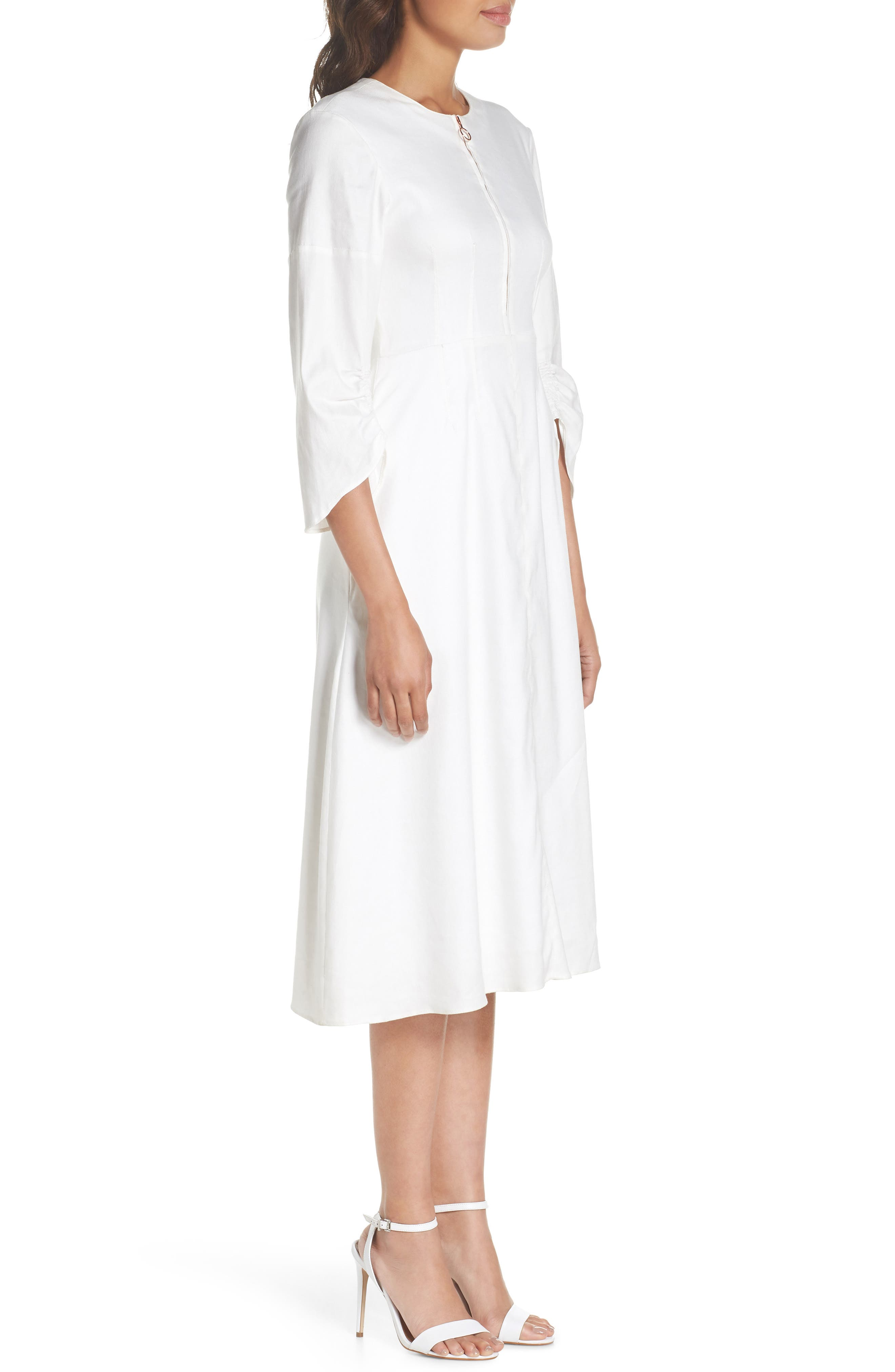 Zip Front Linen Blend Dress,                             Alternate thumbnail 3, color,                             White