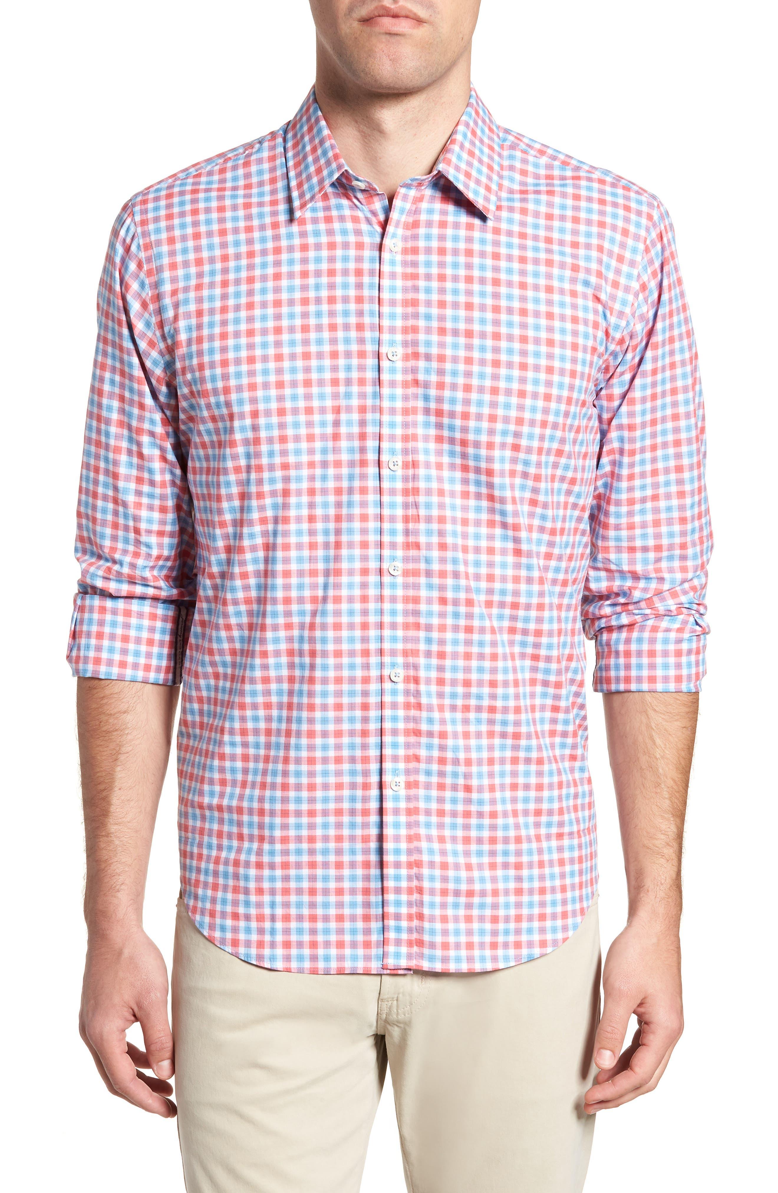 Slim Fit Check Sport Shirt,                         Main,                         color, Medium Orange