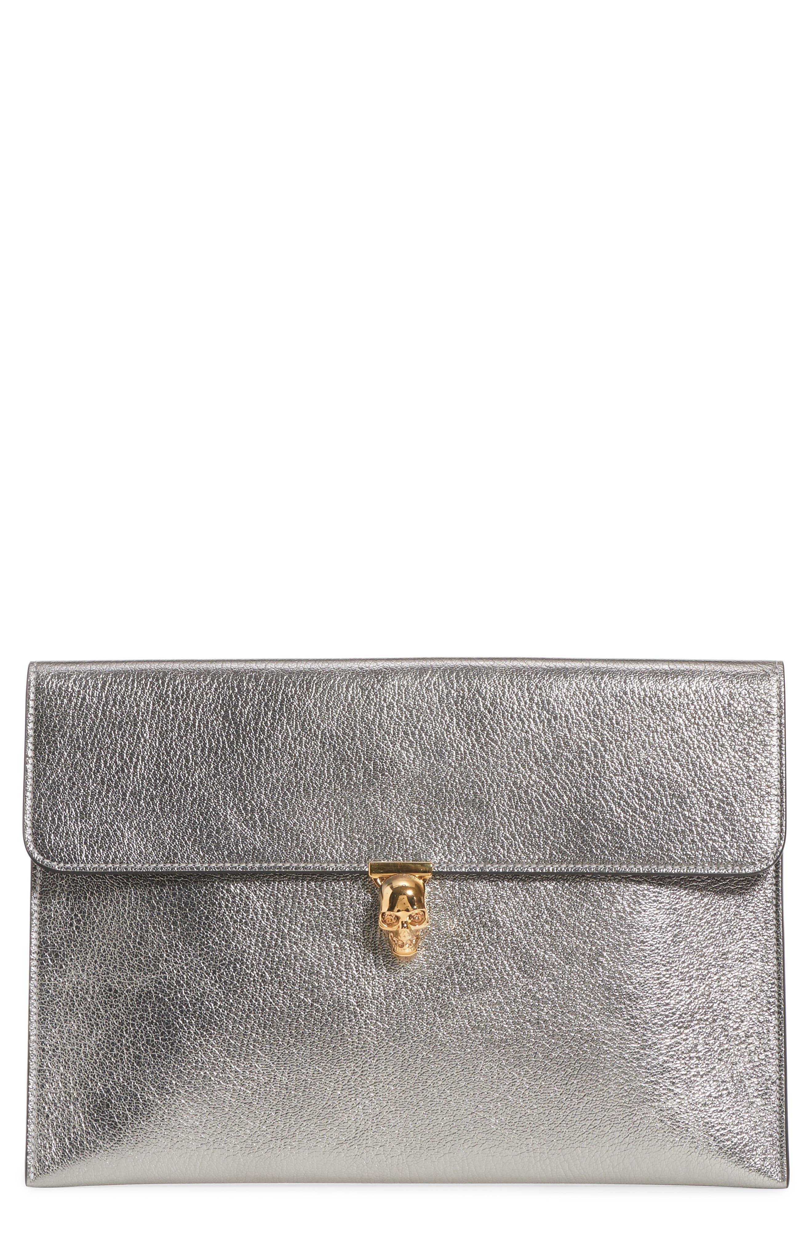 Alexander McQueen Metallic Leather Envelope Clutch